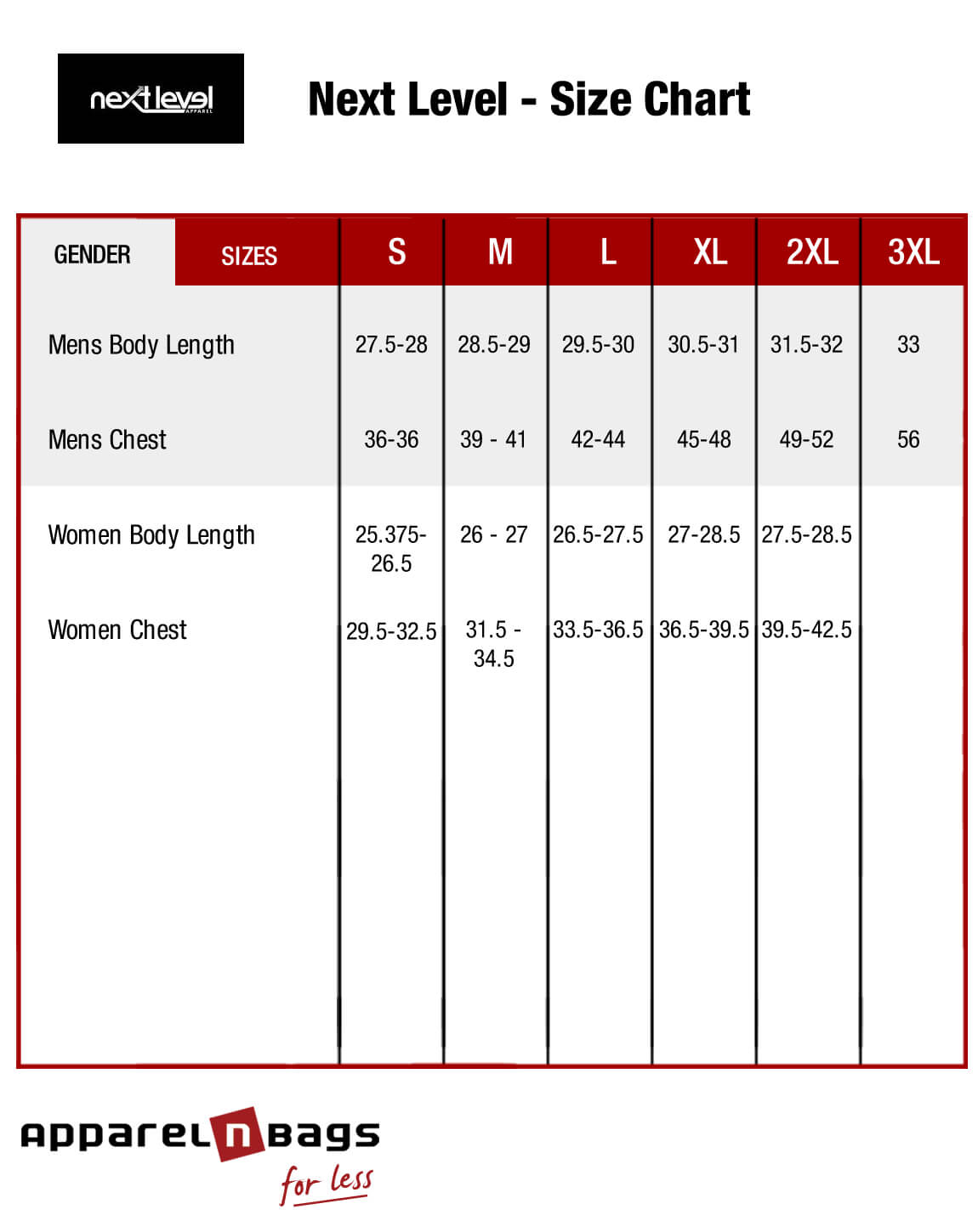 Next level apparel size chart next level fit guide next level size chart nvjuhfo Choice Image