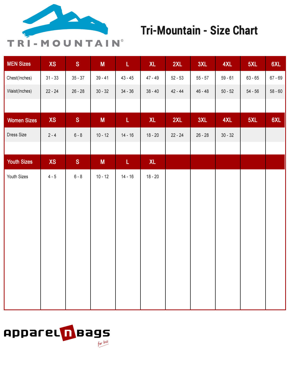 Tri-Mountain - Size Chart