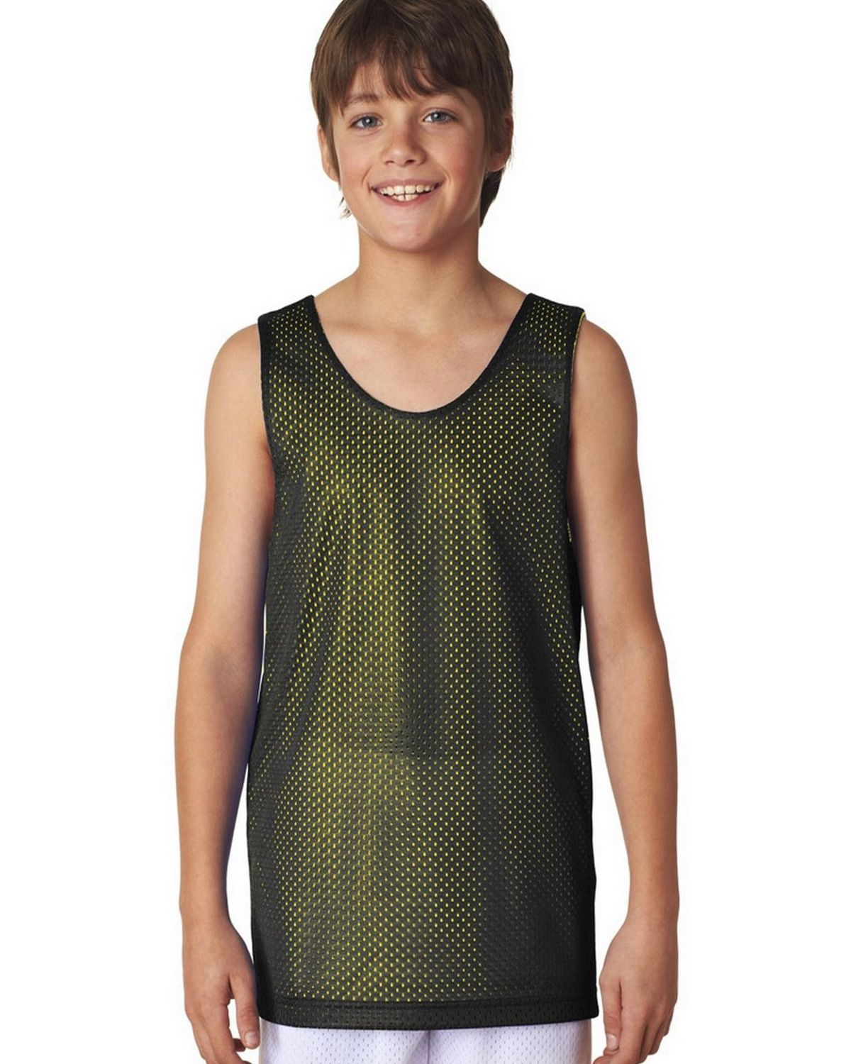 Image of A4 N2206 Youth Reversible Mesh Tank - Black/Gold - S