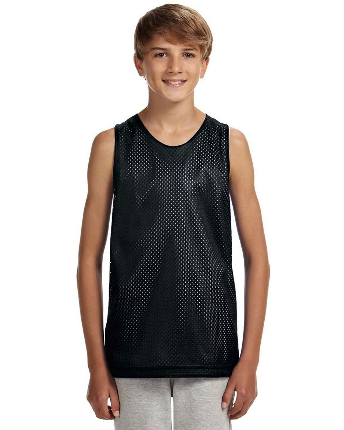 Image of A4 N2206 Youth Reversible Mesh Tank - Black/White - S