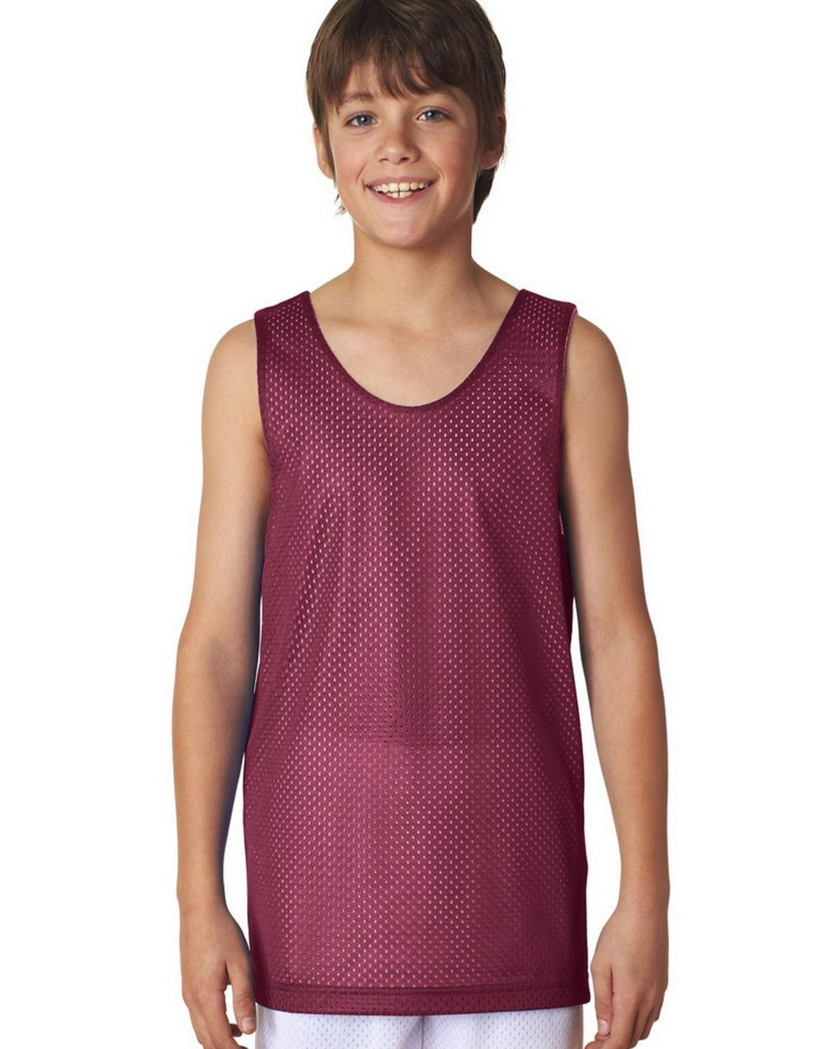 Image of A4 N2206 Youth Reversible Mesh Tank - Cardinal/White - S