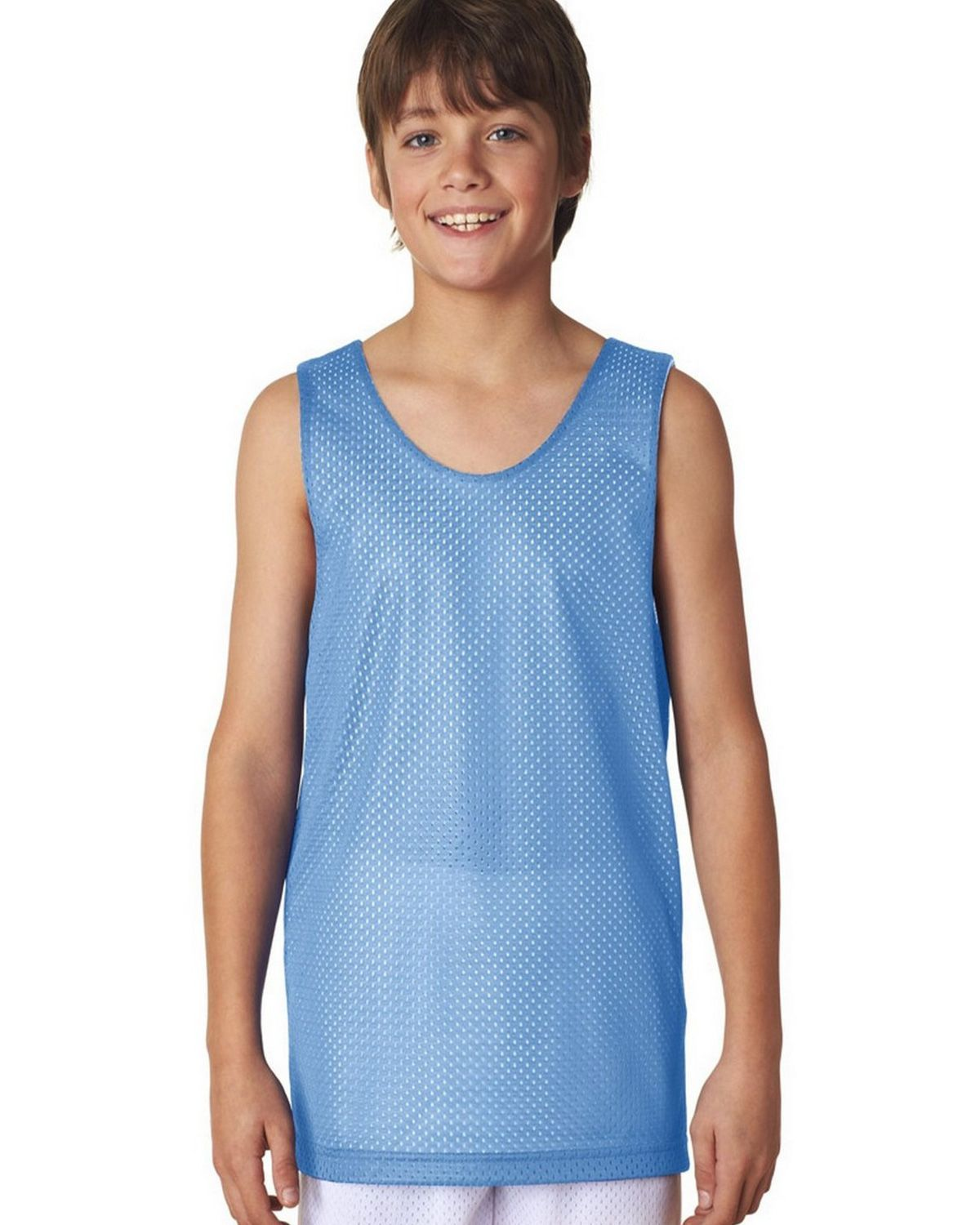 Image of A4 N2206 Youth Reversible Mesh Tank - Light Blue/White - S