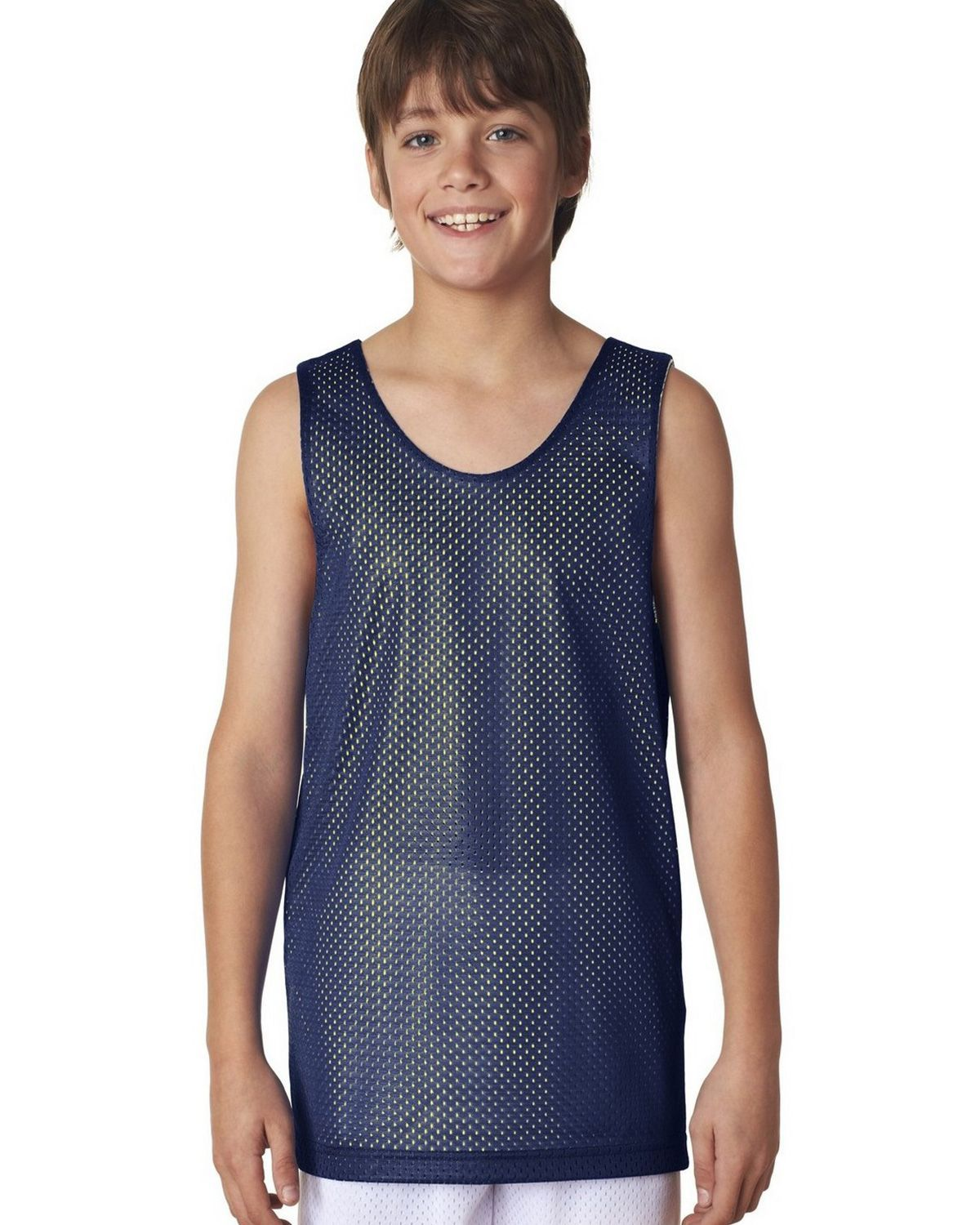 Image of A4 N2206 Youth Reversible Mesh Tank - Navy/Gold - S