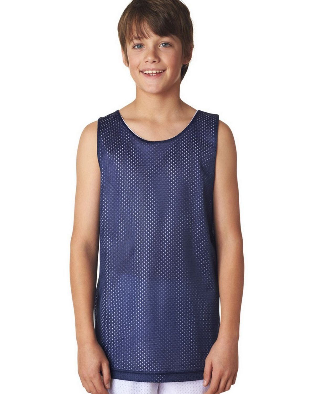 Image of A4 N2206 Youth Reversible Mesh Tank - Navy/White - S