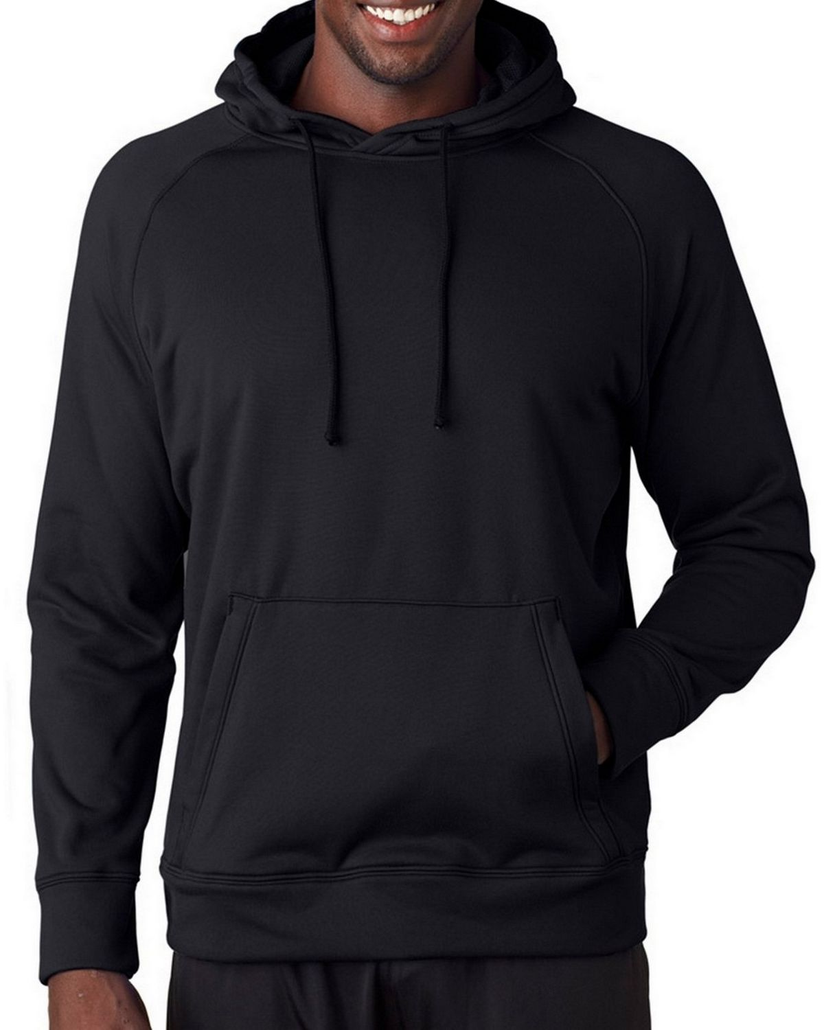 A4 N4237 Adult Solid Tech Fleece Hoodie - White - XL N4237