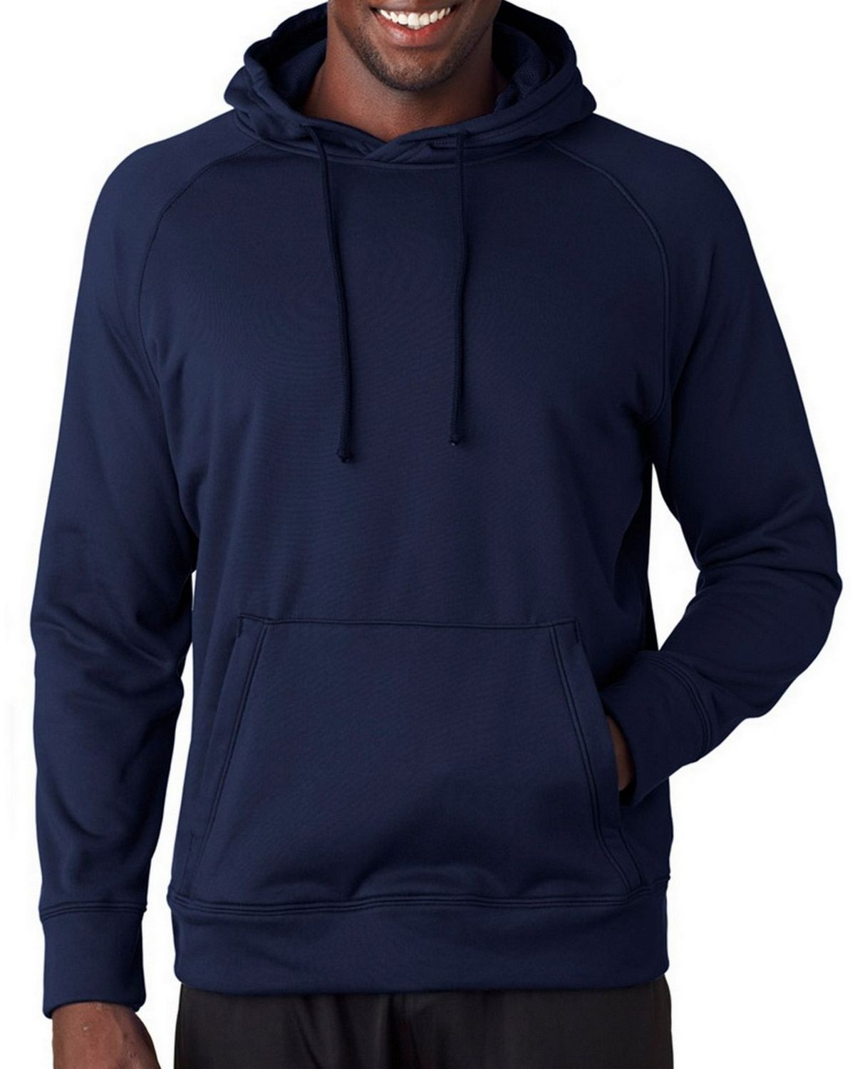 A4 N4237 Adult Solid Tech Fleece Hoodie - Navy - XL N4237