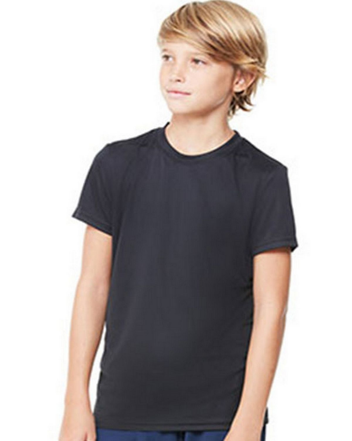 All Sport M1009Y Youth Short Sleeve Tee - Black - L M1009Y
