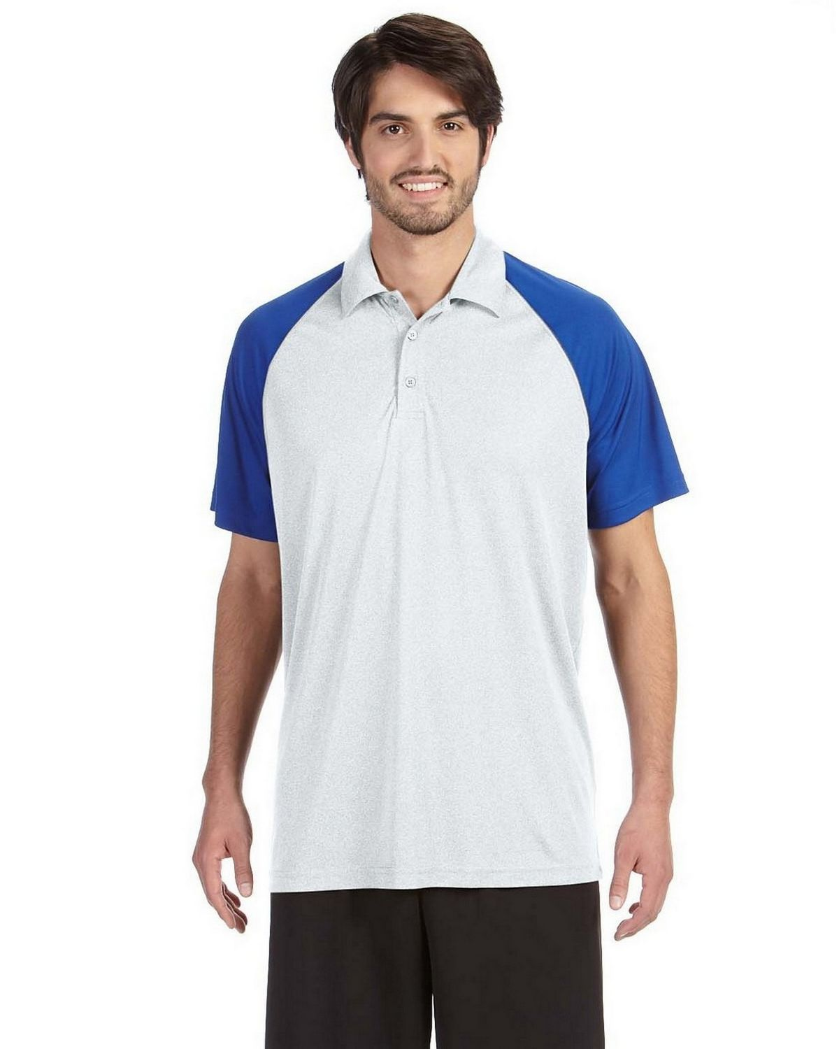 All Sport M1829 Mens Performance Raglan Polo - White - XS M1829