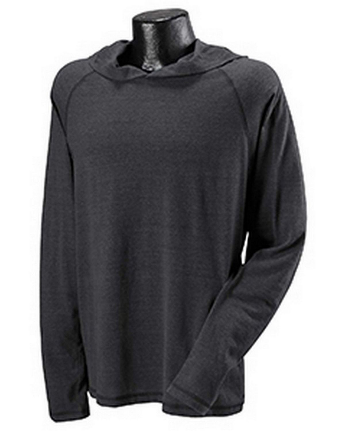 All Sport M3101Performance Triblend Jersey Long-Sleeve Hooded Pullover - Charcoal Heather Timberland - M M3101