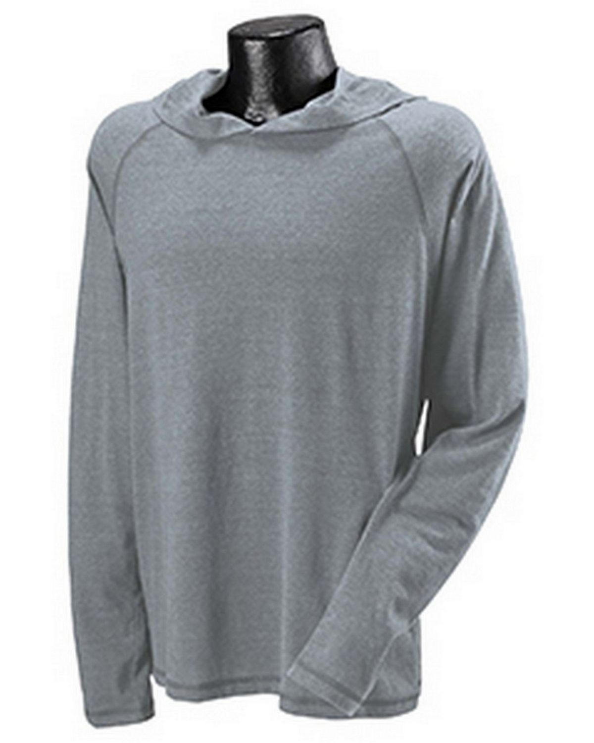 All Sport M3101Performance Triblend Jersey Long-Sleeve Hooded Pullover - Grey Heather Timberland - M M3101