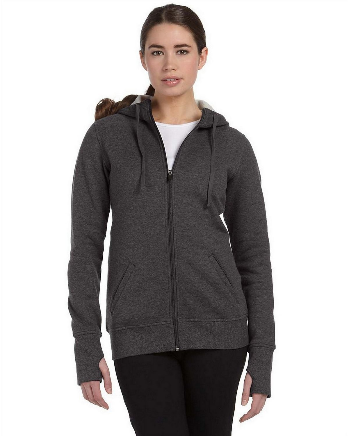 All Sport W4010 Performance Fleece Full-Zip Hoodie - Dark Grey Heather - XL W4010