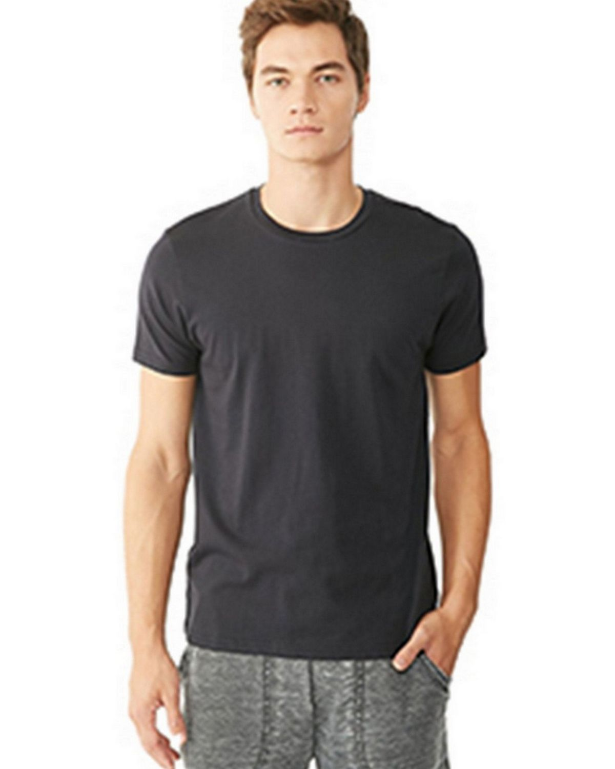 Alternative 12523P Mens Perfect Crew T-Shirt - Oxf Gry Heather - XL 12523P