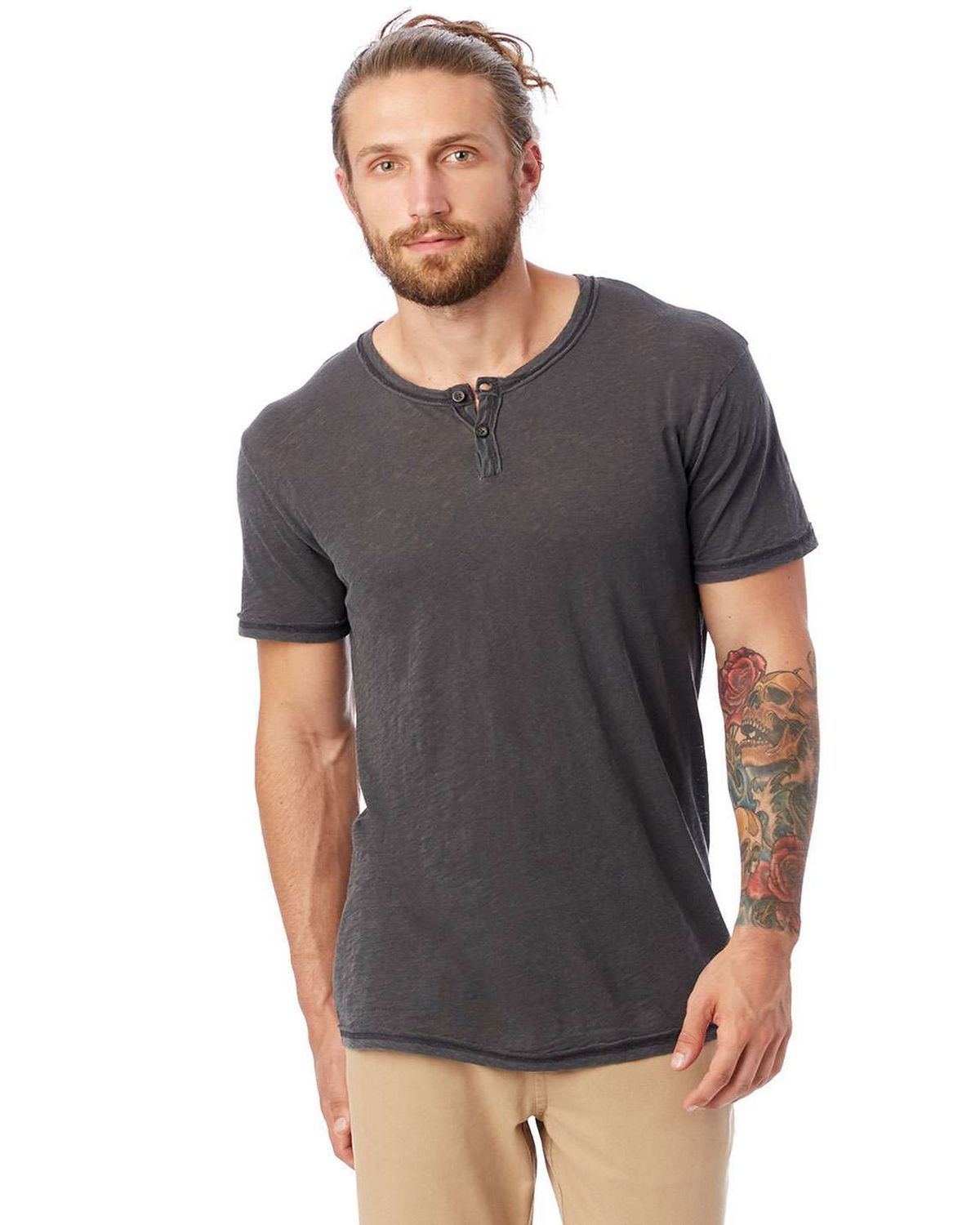 Alternative 6897J1 Men's Home Team Garment Dyed Slub Henley Shirt