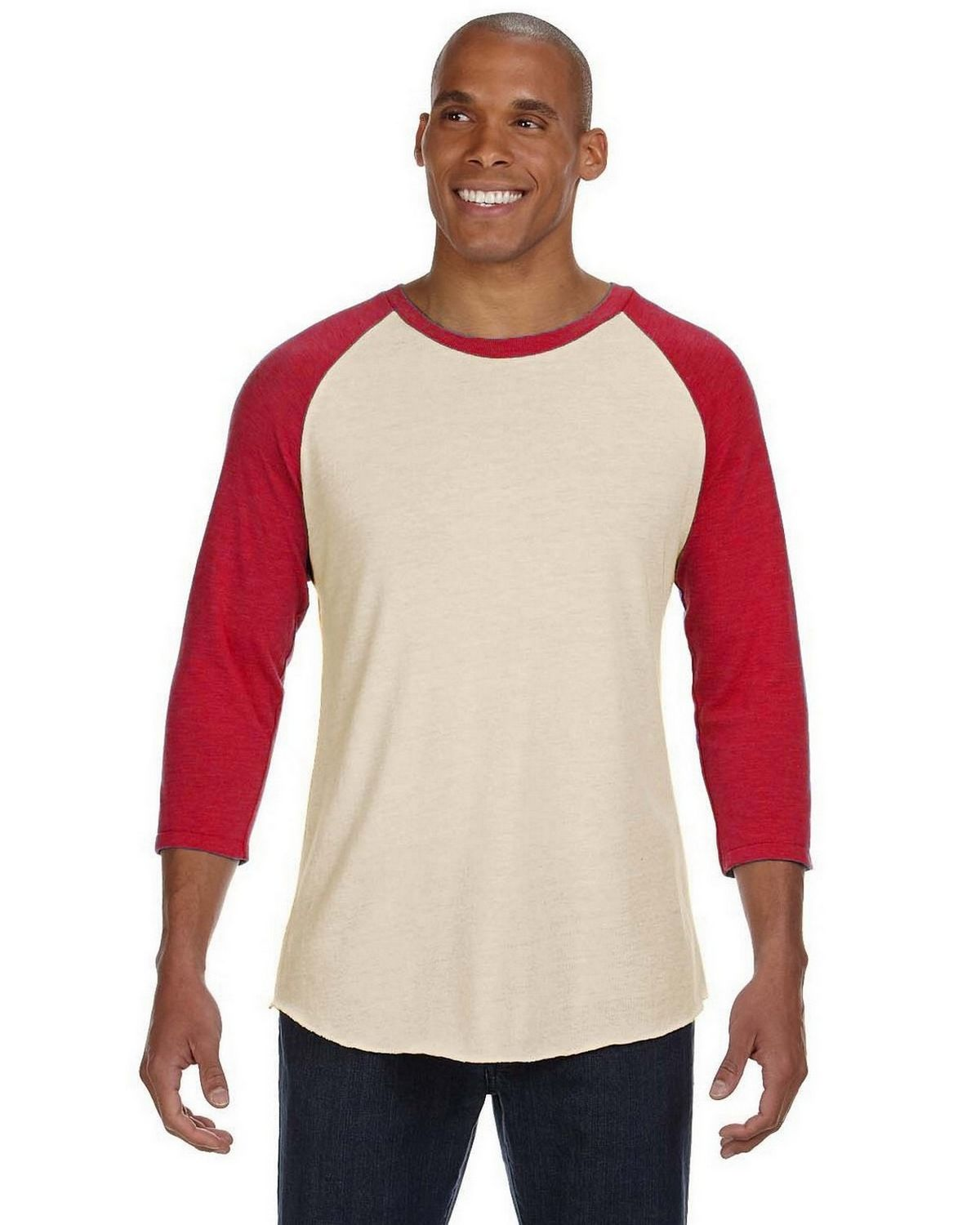 Alternative AA2089 Fashion Now Mens Printed Baseball Tee - Eco True Red - XL AA2089