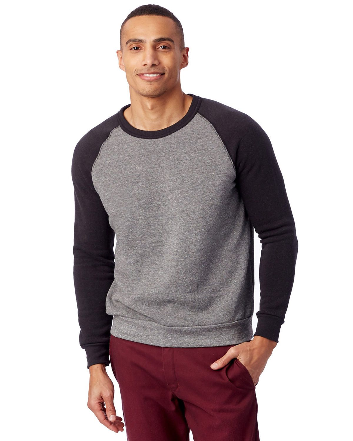 Alternative AA3202 Champ Color-Blocked Fleece Crew - Eco Grey/Eco True Black - XL AA3202