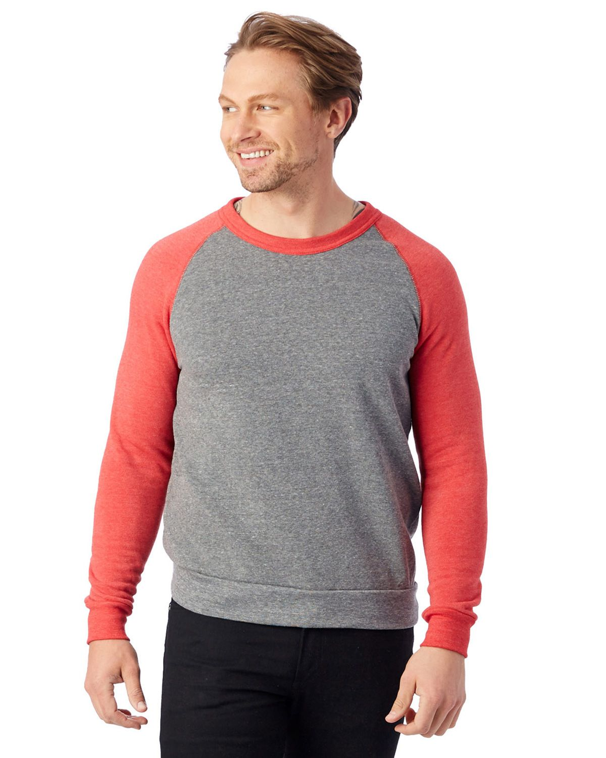 Alternative AA3202 Champ Color-Blocked Fleece Crew - Eco Grey/Eco True Red - L AA3202