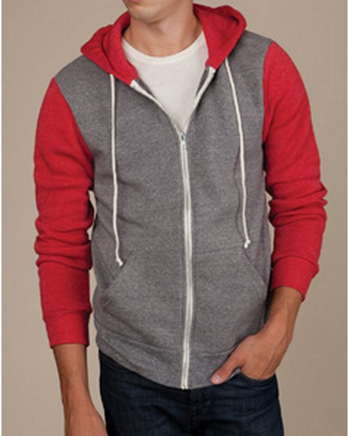 Alternative AA3203 Rocky Color-Blocked Full-Zip Hoodie - Eco Grey/Eco True Red - L AA3203