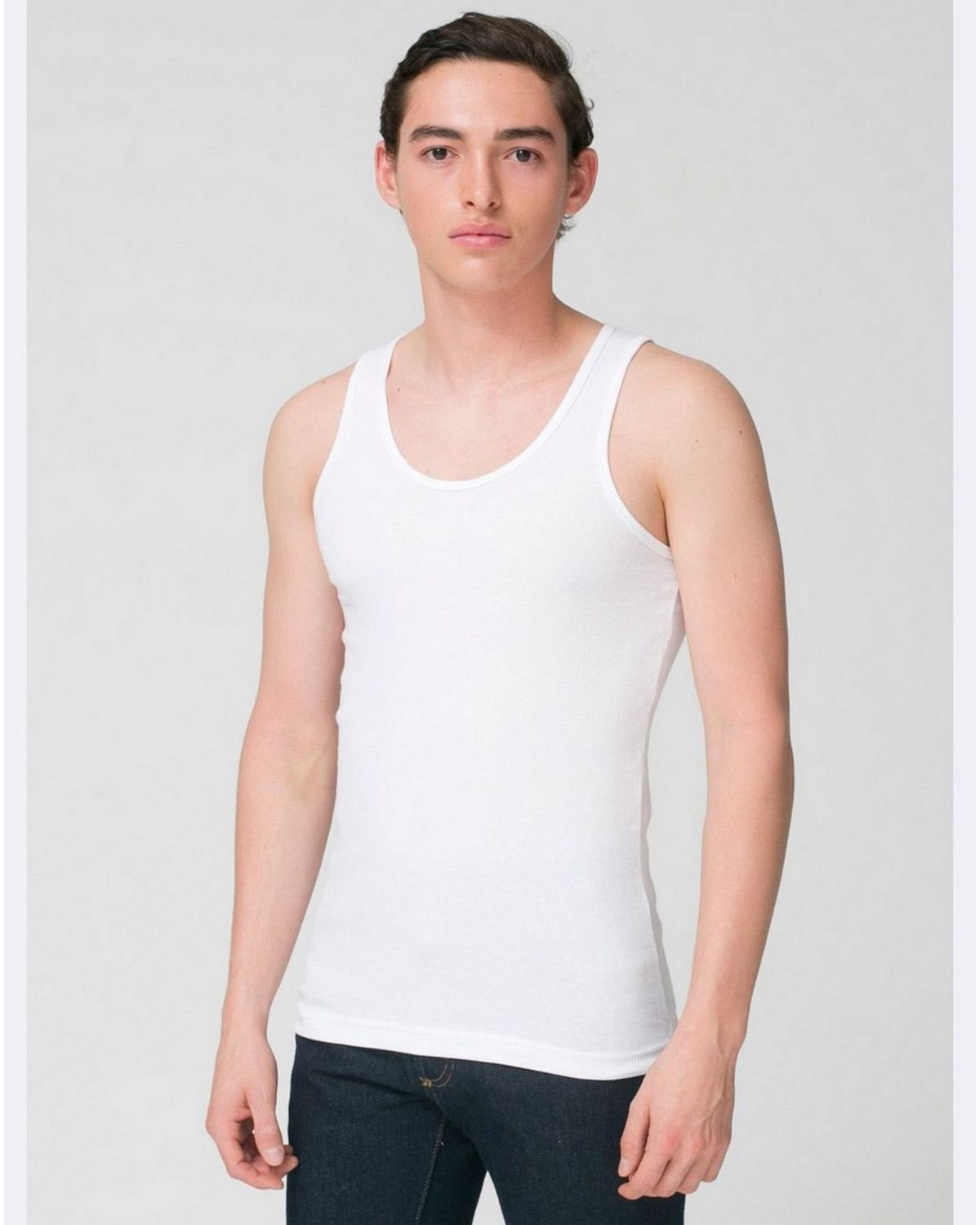 American Apparel 3408 Unisex Rib Tank Top - White - L 3408