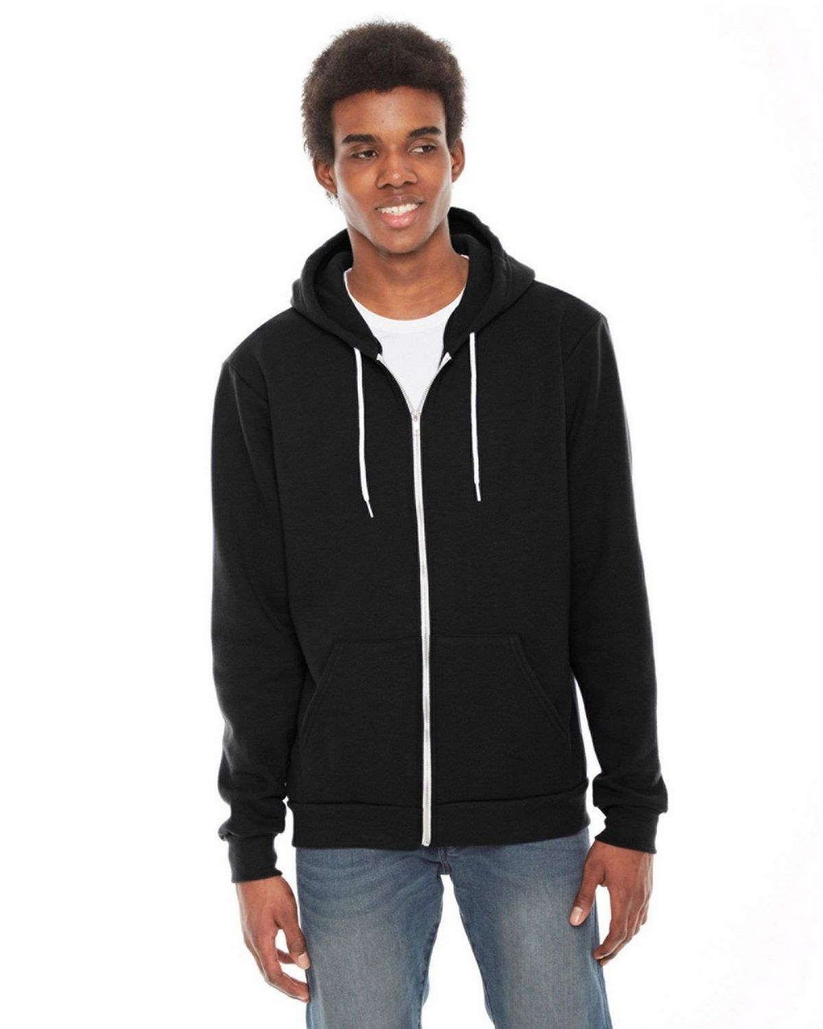 American Apparel F497 Unisex Flex Fleece Hoodie - Black - XL F497