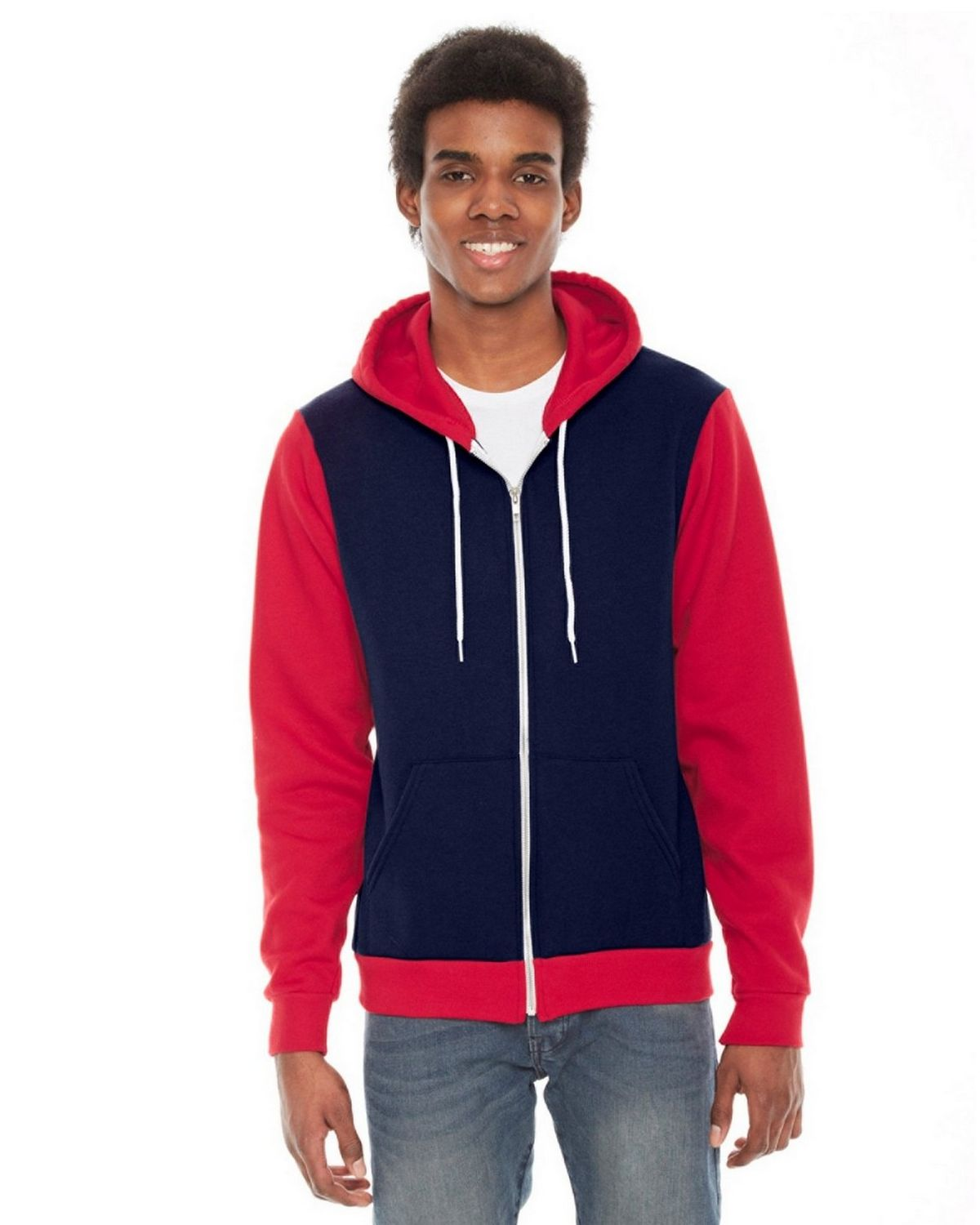 American Apparel F497 Unisex Flex Fleece Hoodie - Navy - L F497