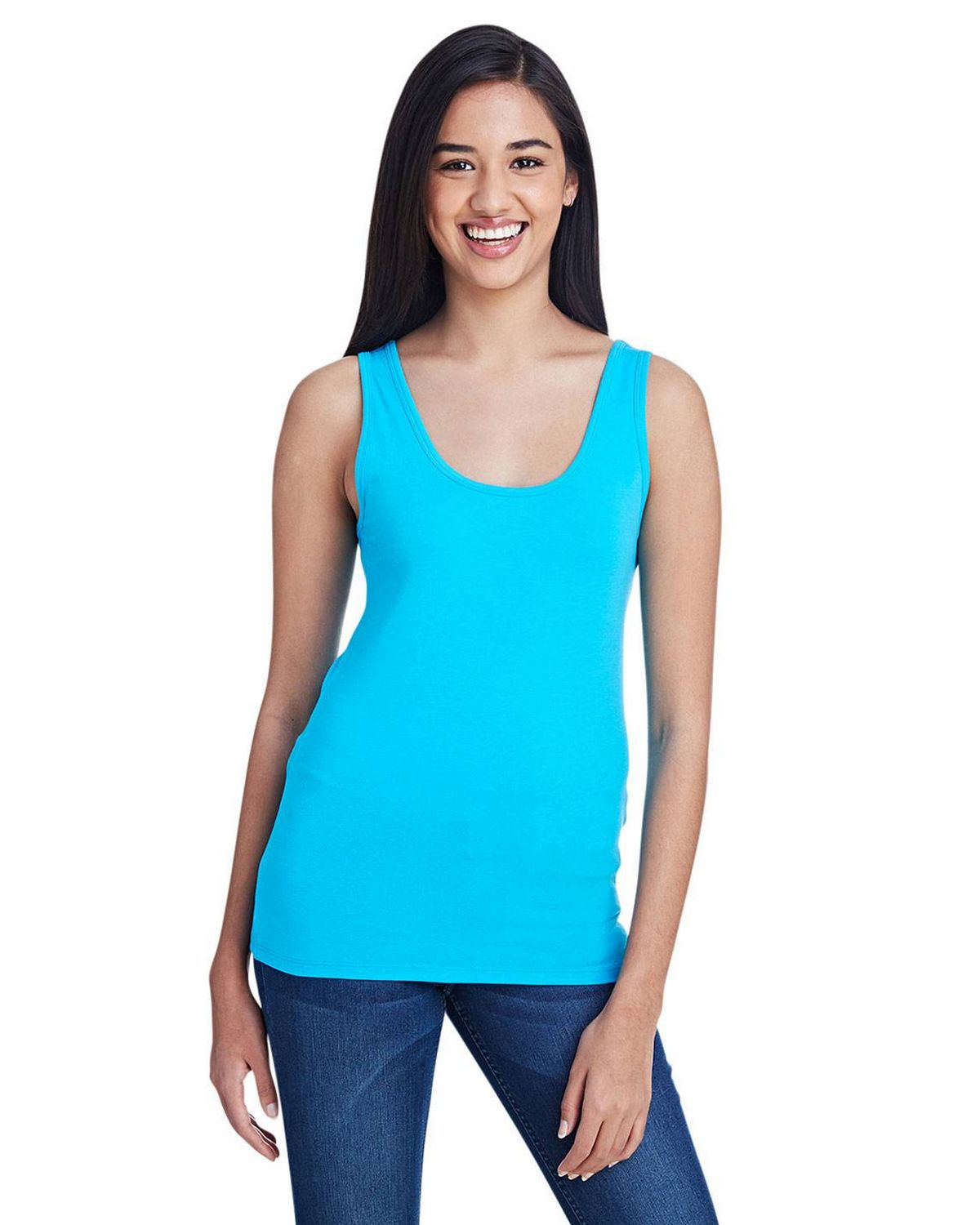 Anvil 2420L Ladies Stretch Tank - Caribbean Blue - S 2420L