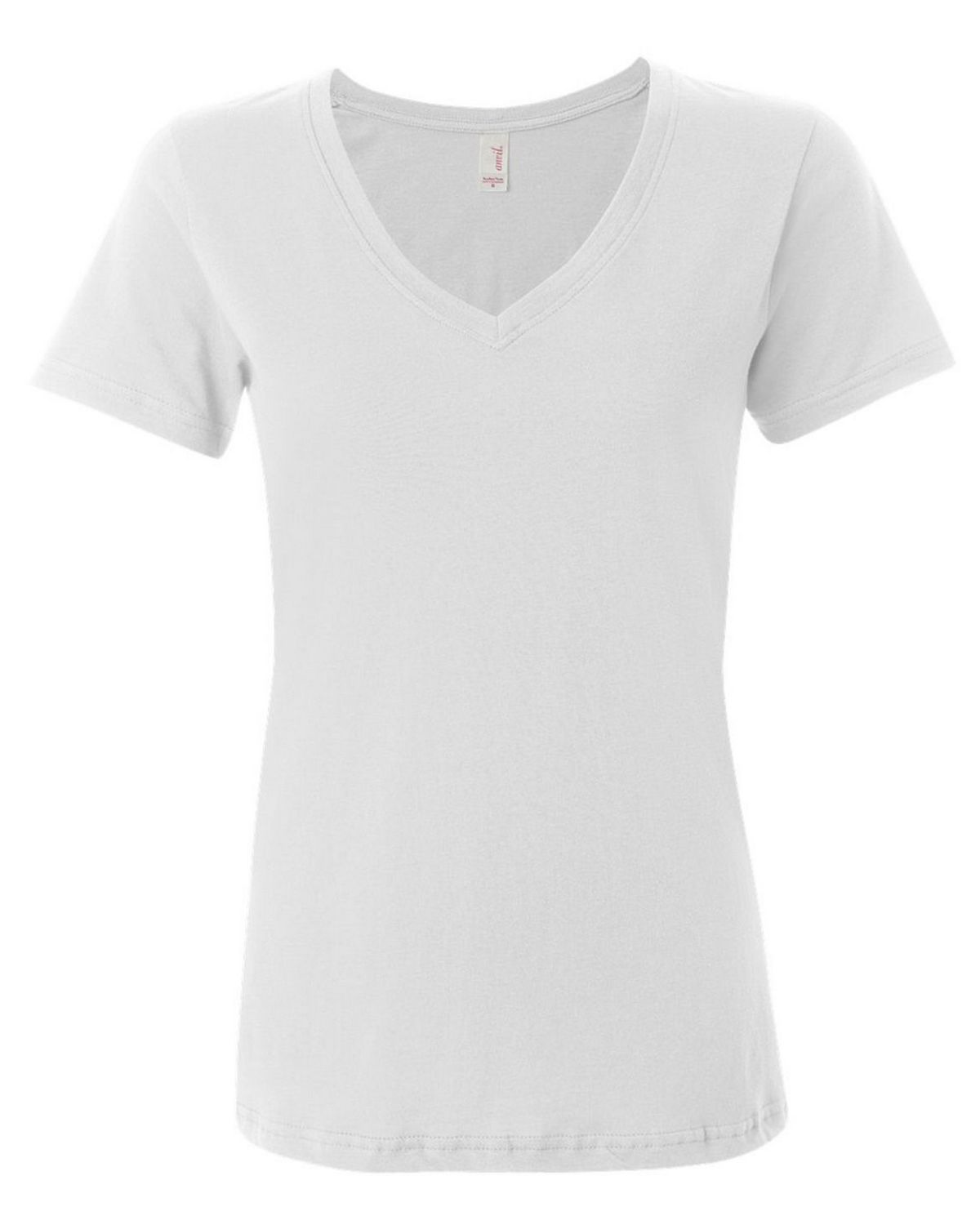 Anvil 392 Ladies Sheer V-Neck Tee - White - XL 392