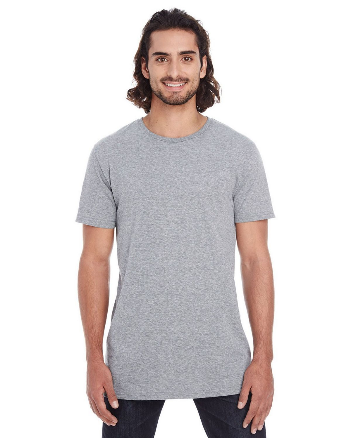Anvil 5624 Lightweight Long & Lean Tee - Heather Graphite - M 5624