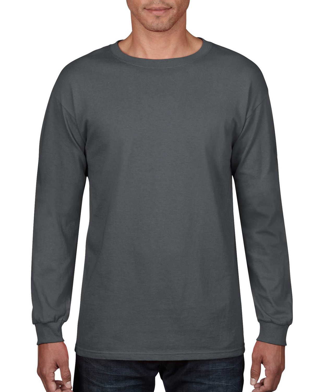 Anvil 784 Anvil Midweight Long Sleeve Cotton Tee - Charcoal - S 784