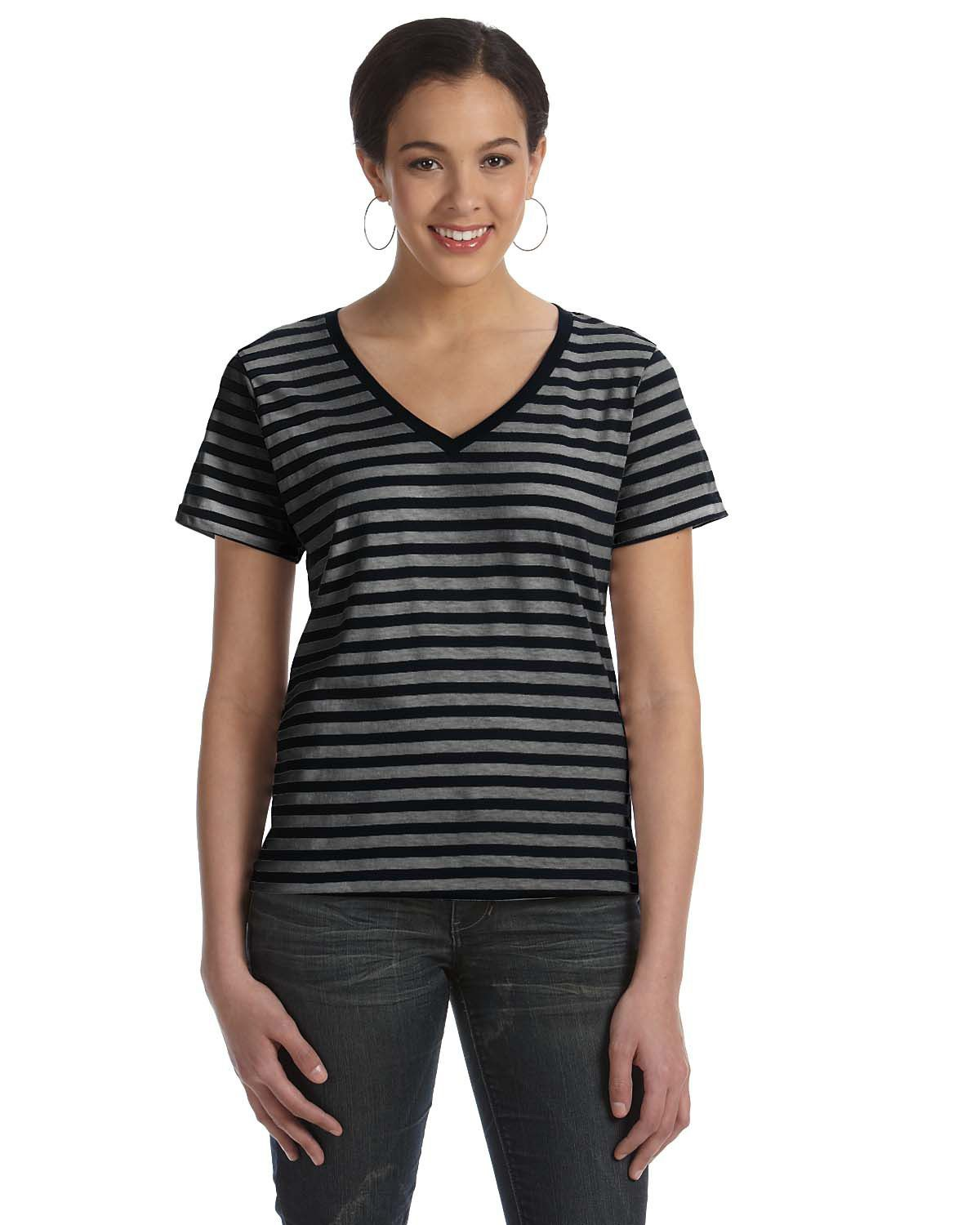 Anvil 8823 Striped V-Neck T-Shirt - Black/Black/Heather - S 8823