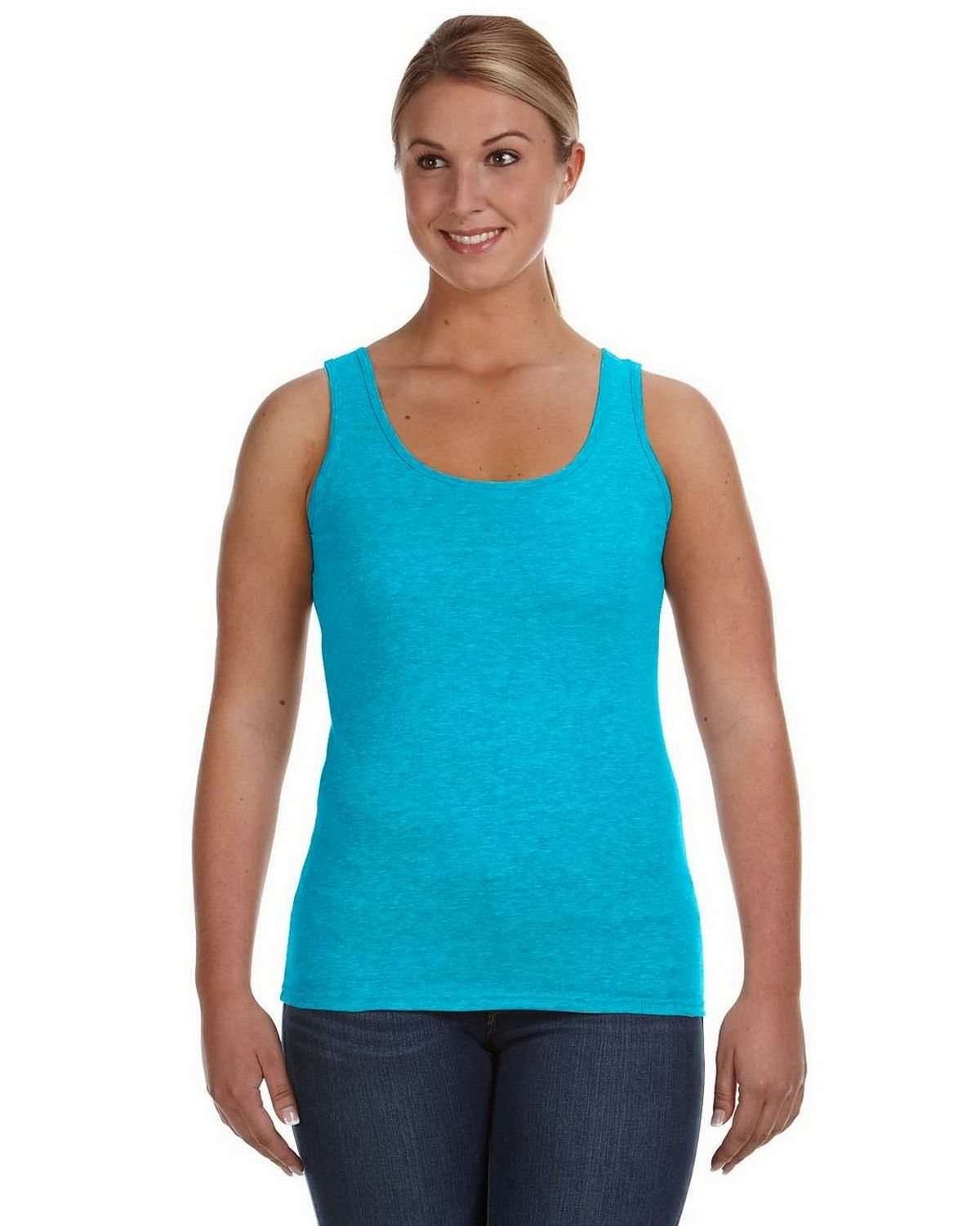 Anvil 882L Ladies Ringspun Tank - Caribbean Blue - XL 882L