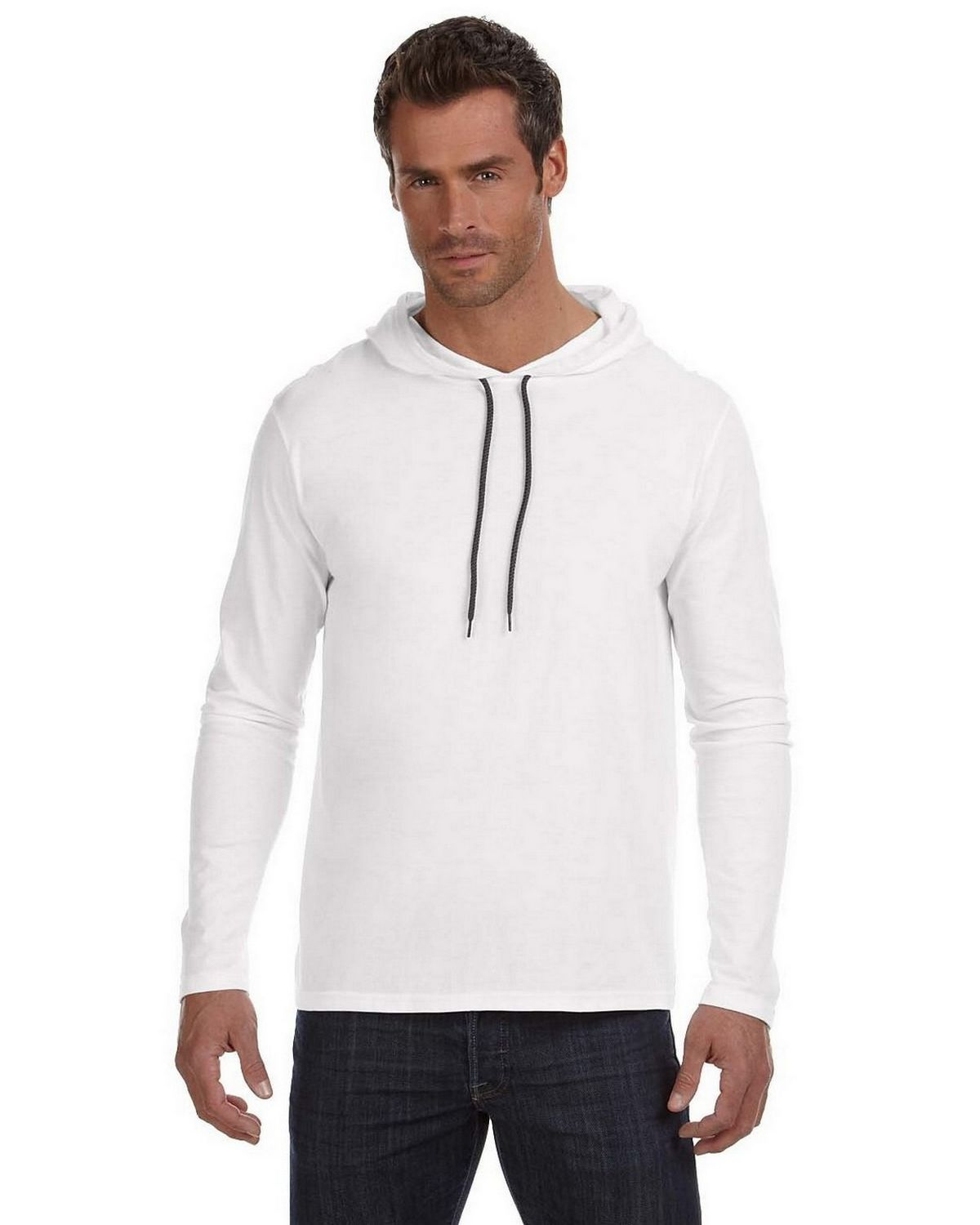 Anvil 987AN Men's Ringspun Long Sleeve Hooded T Shirt