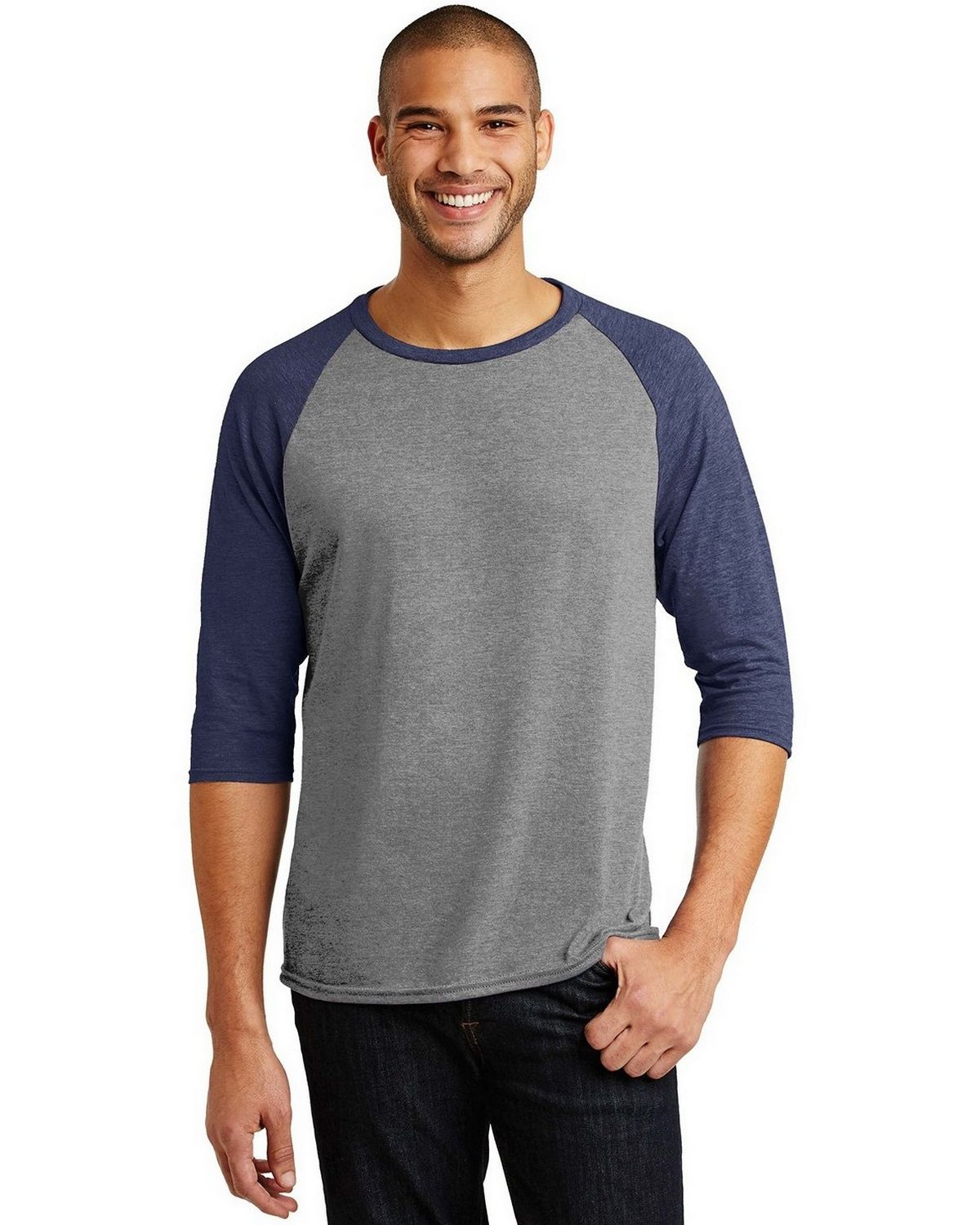 Anvil AN6755 Tri-Blend 3/4-Sleeve Raglan Tee - Heather Grey/ Heather Red - M AN6755