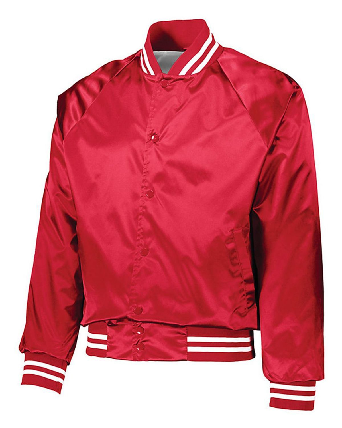 5c1c9ad80ca Augusta Sportswear 3610 Mens Satin Baseball Jacket Striped Trim