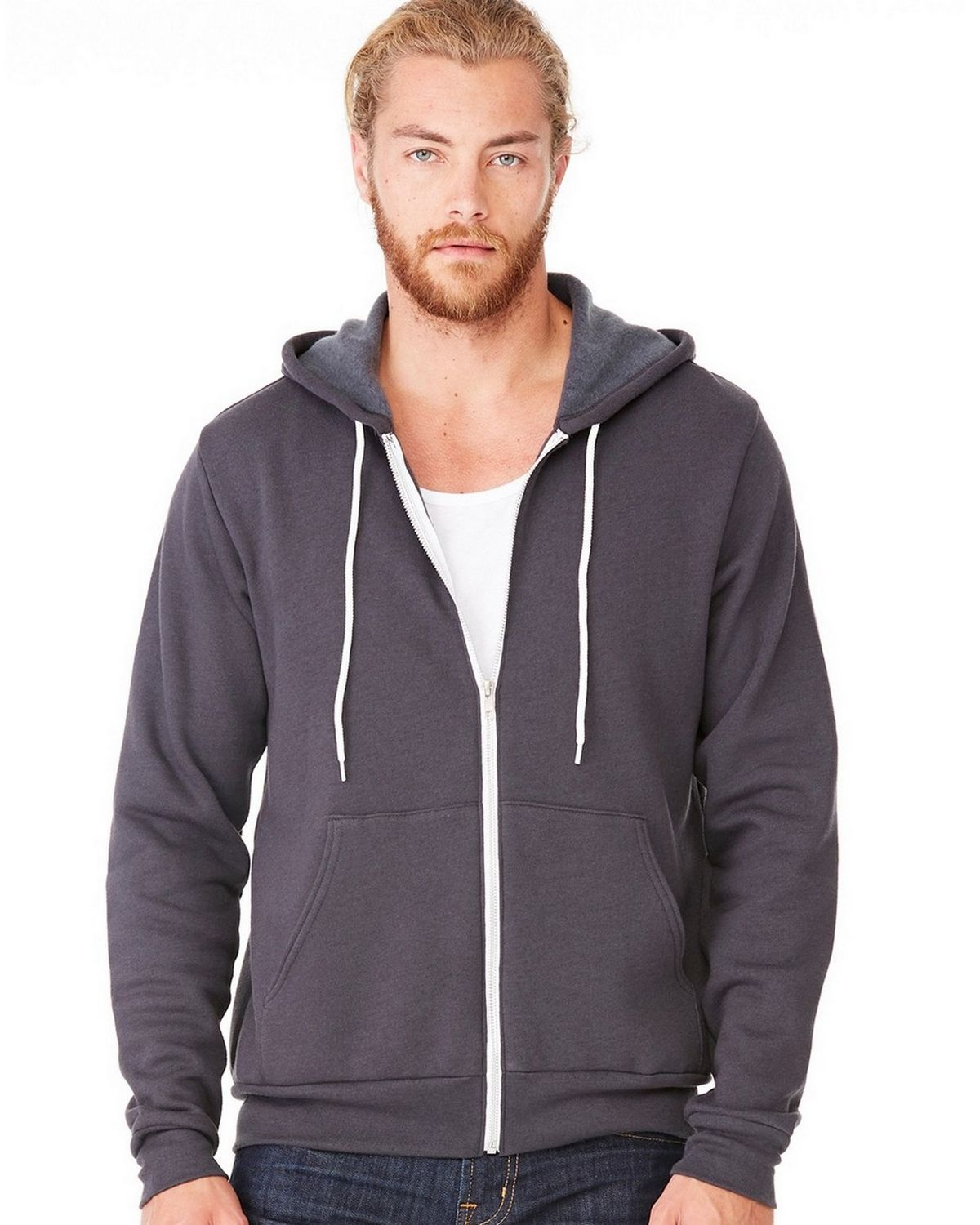 Bella + Canvas C3739 Unisex Full-Zip Hoodie - Dark Grey Heather - 2X C3739