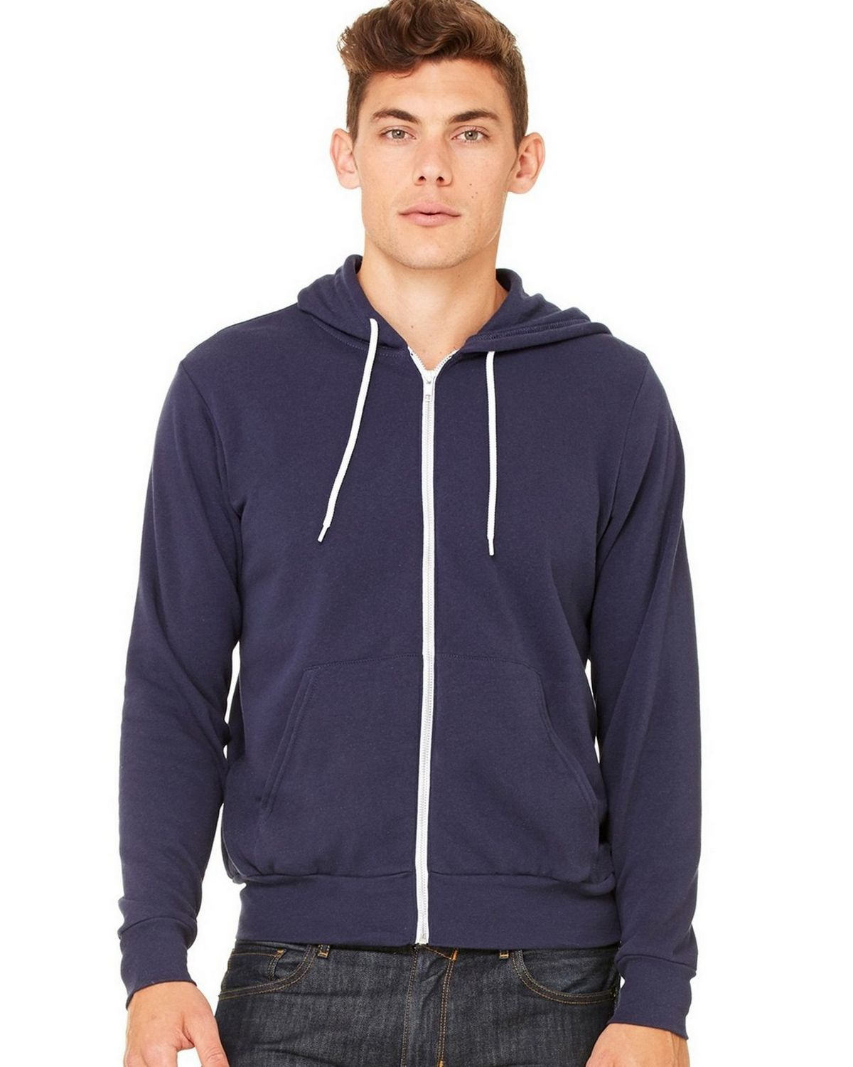 Bella + Canvas C3739 Unisex Full-Zip Hoodie - Heather Navy - 2X C3739
