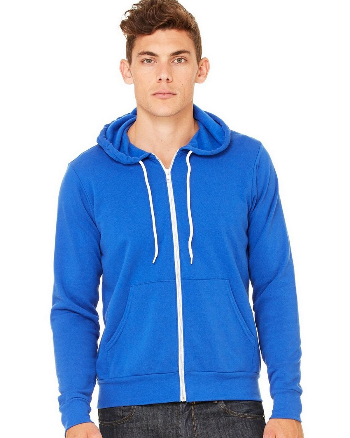Bella + Canvas C3739 Unisex Full-Zip Hoodie - Heather True Royal - 2X C3739