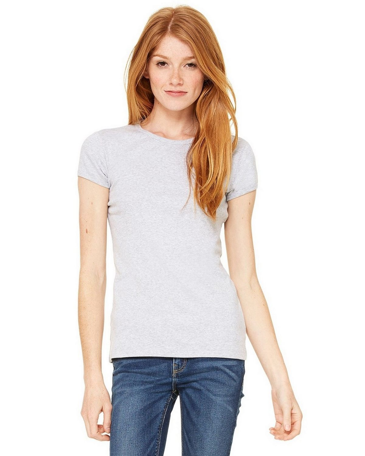 Bella + Canvas 1001 Ladies Stretch Rib Short-Sleeve T-Shirt - Athletic Heather - S 1001