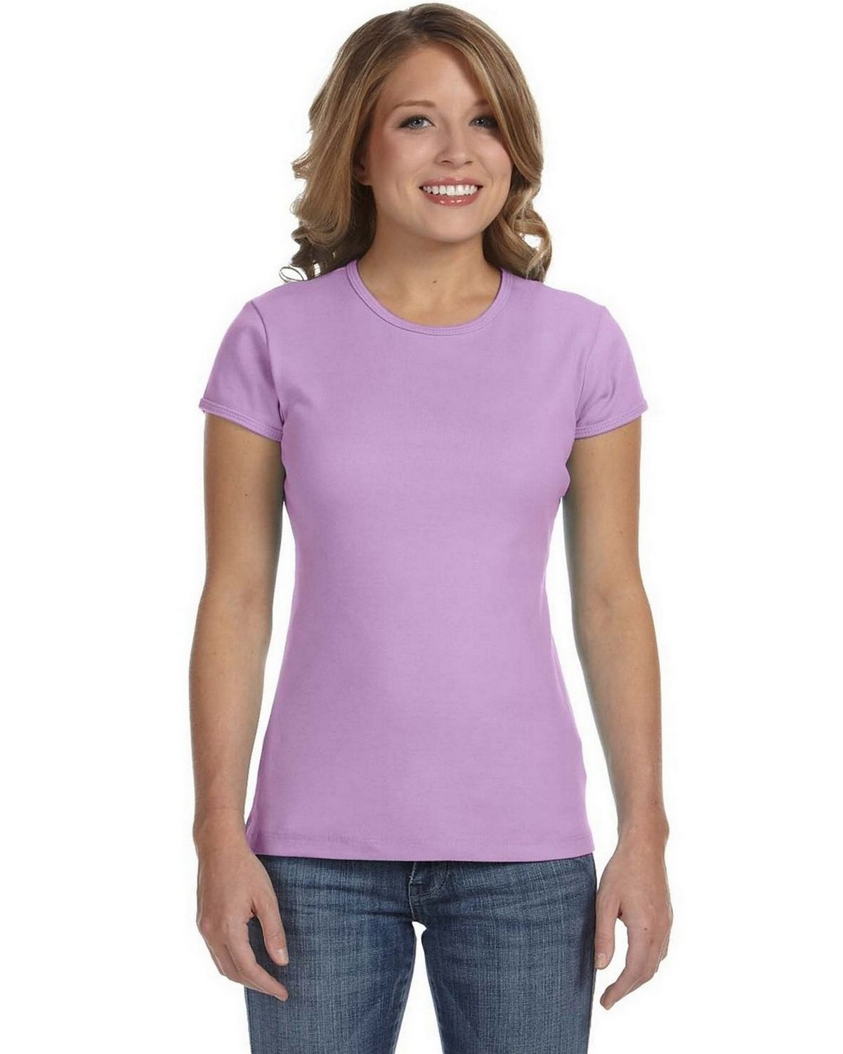 Bella + Canvas 1001 Ladies Stretch Rib Short-Sleeve T-Shirt - Lilac - S 1001