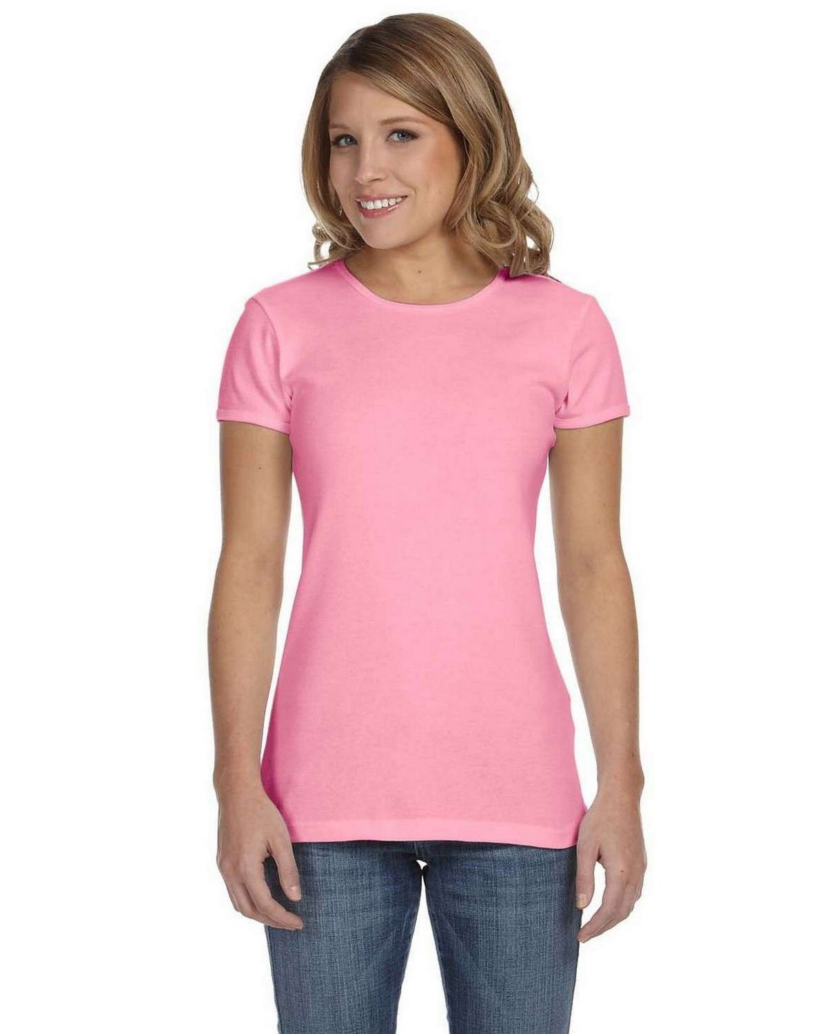 Bella + Canvas 1001 Ladies Stretch Rib Short-Sleeve T-Shirt - Pink - S 1001