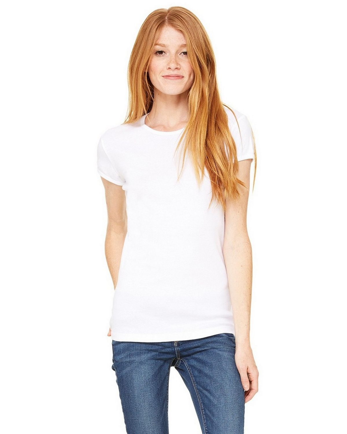 Bella + Canvas 1001 Ladies Stretch Rib Short-Sleeve T-Shirt - White - M 1001