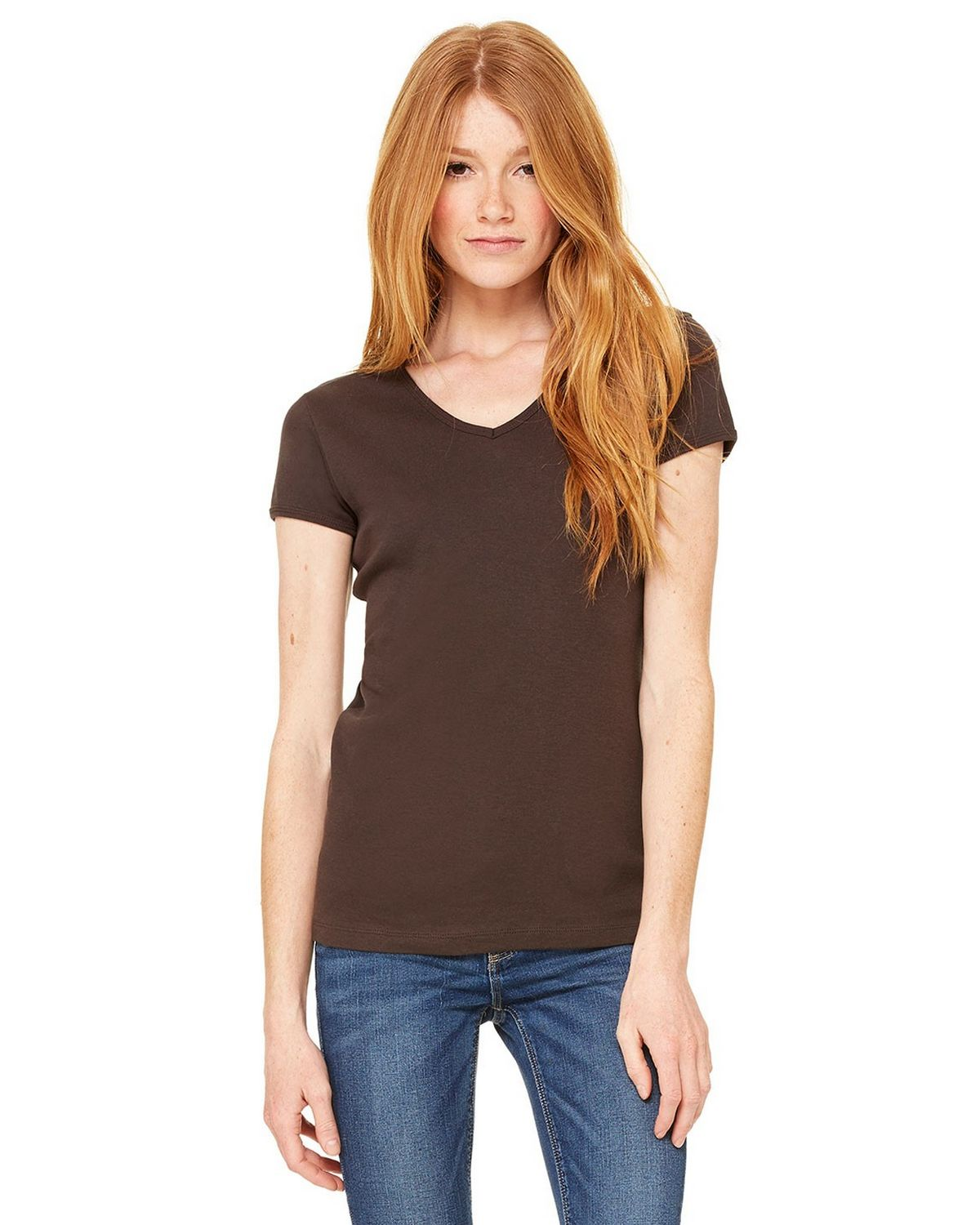 Bella + Canvas 1005 Ladies Stretch Rib V-Neck T-Shirt - Chocolate - S 1005