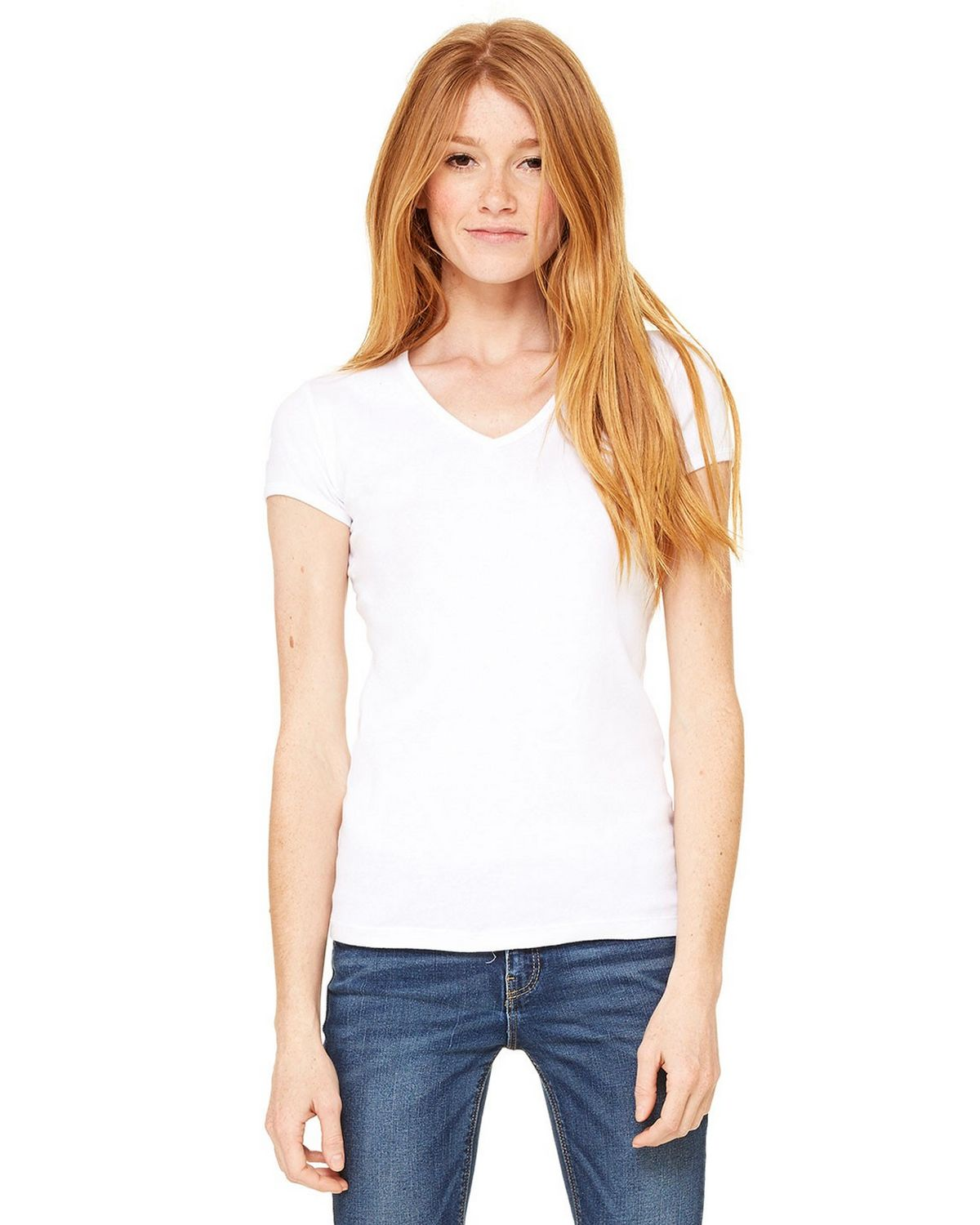 Bella + Canvas 1005 Ladies Stretch Rib V-Neck T-Shirt - White - S 1005