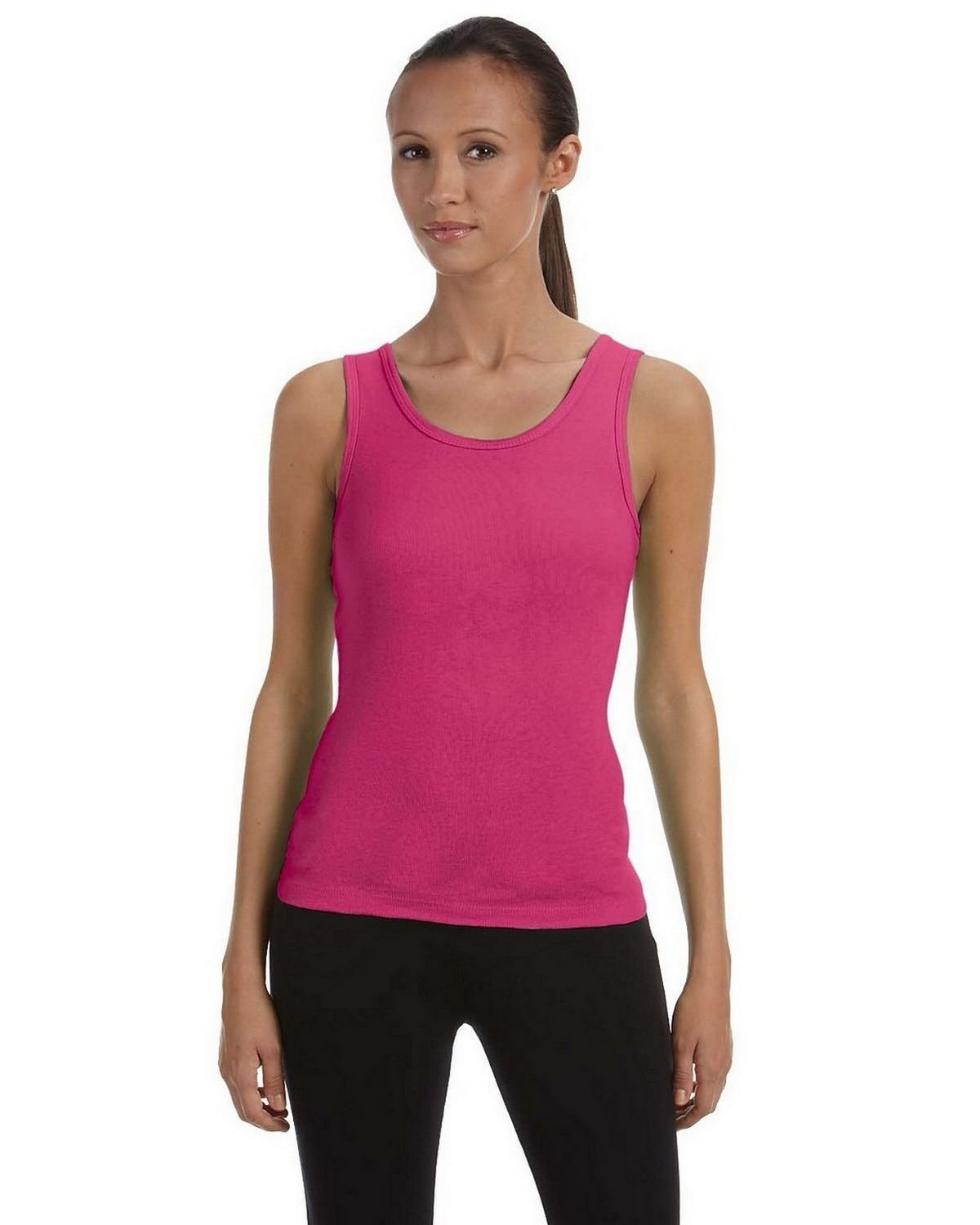 Bella + Canvas 1080 Ladies 1x1 Baby Rib Wide Strap Tank - Berry - S 1080
