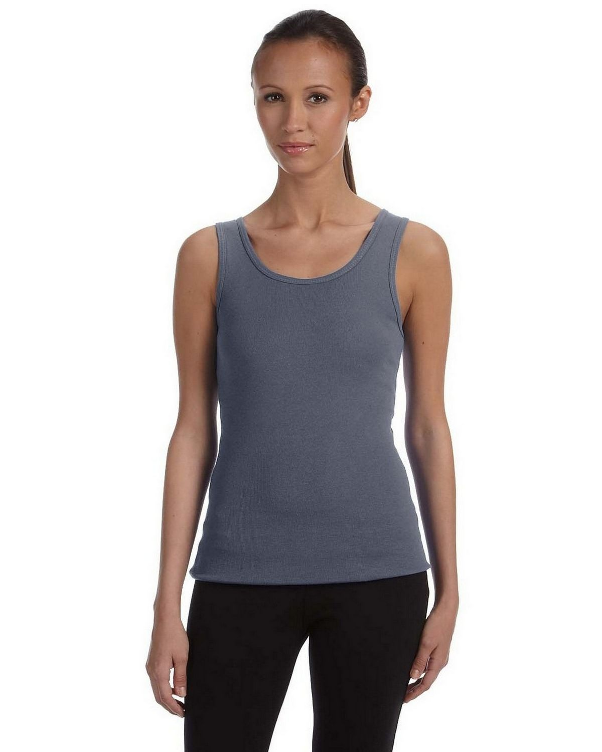 Bella + Canvas 1080 Ladies 1x1 Baby Rib Wide Strap Tank - Deep Heather - S 1080