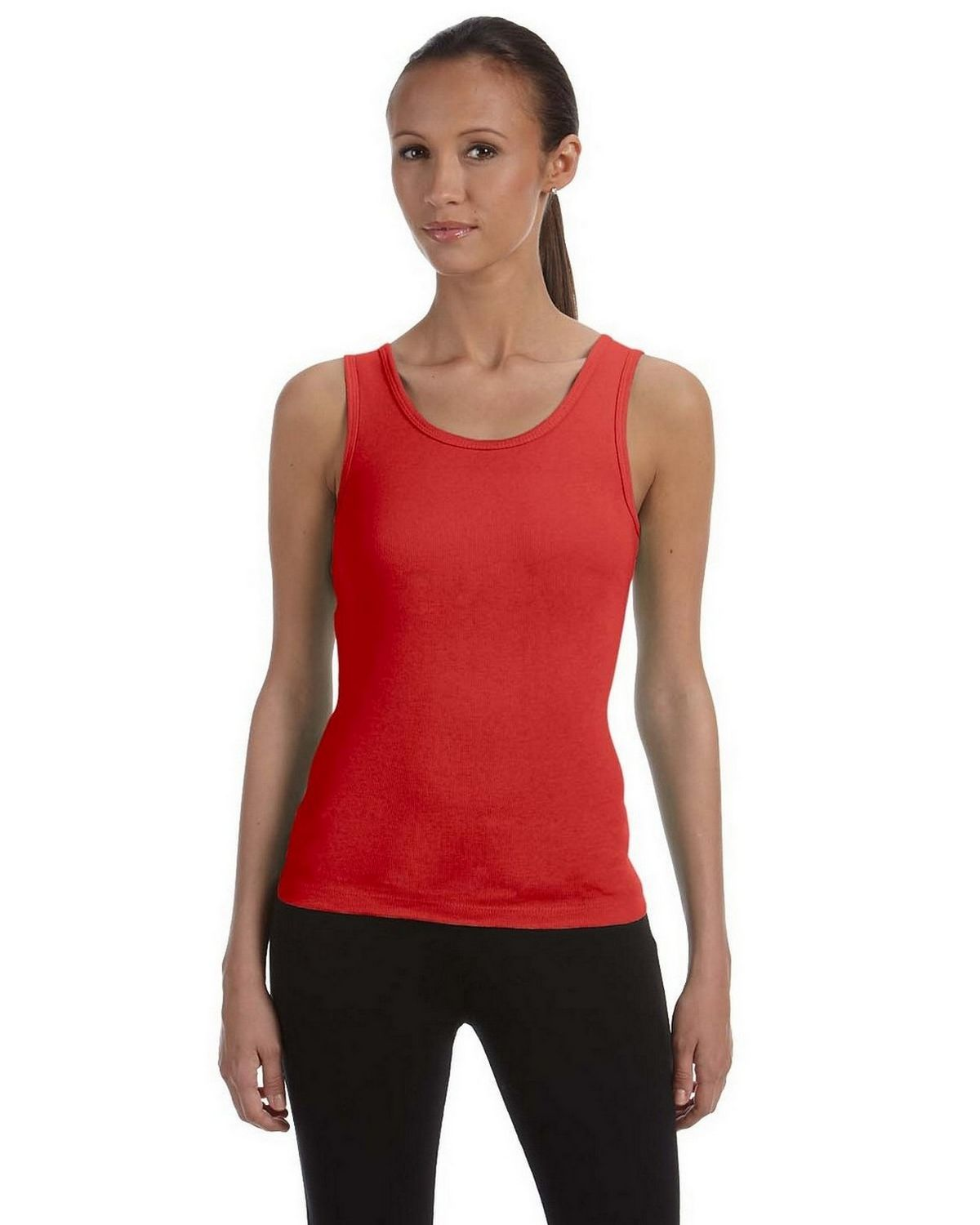 Bella + Canvas 1080 Ladies 1x1 Baby Rib Wide Strap Tank - Red - S 1080