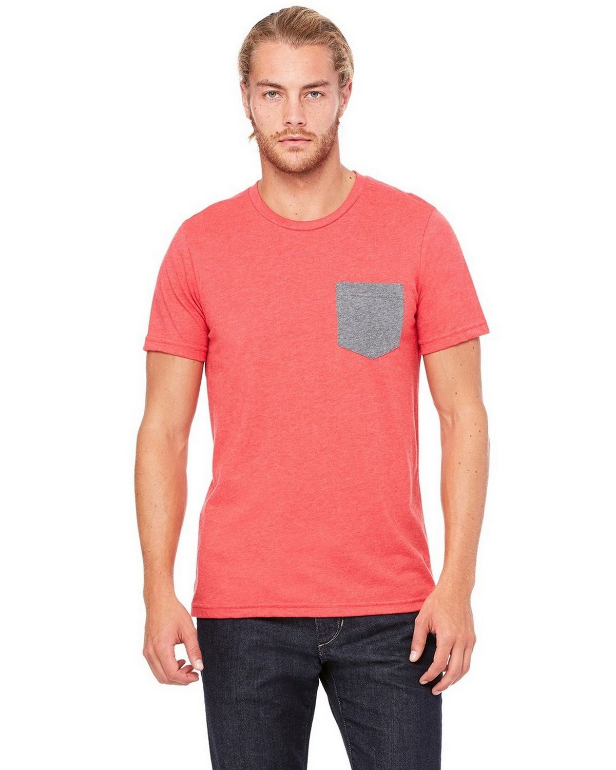 Bella + Canvas 3021 Mens Jersey Pocket T-Shirt - Heather Red/Deep Heather - M 3021
