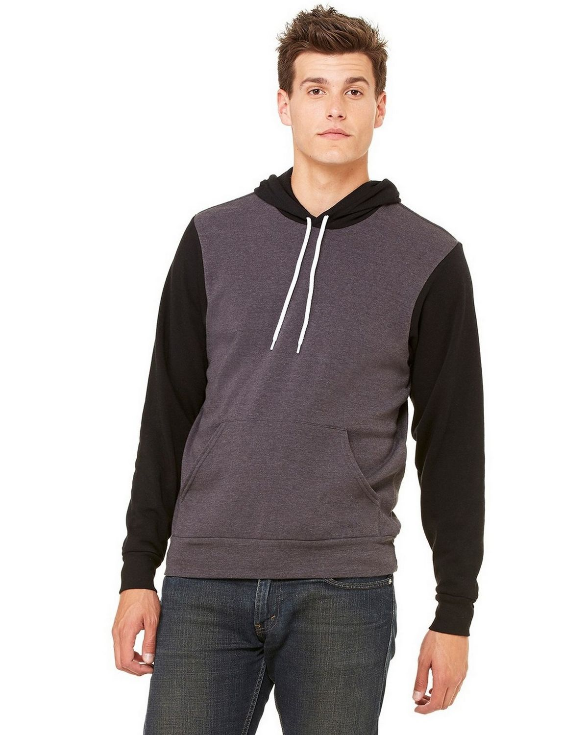 Bella + Canvas 3719 Unisex Poly Cotton Fleece Pullover Hoodie - Dark Grey Heather/Black - XS 3719