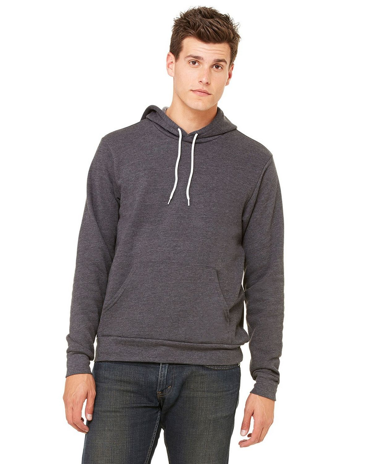 Bella + Canvas 3719 Unisex Poly Cotton Fleece Pullover Hoodie - Dark Grey Heather - L 3719