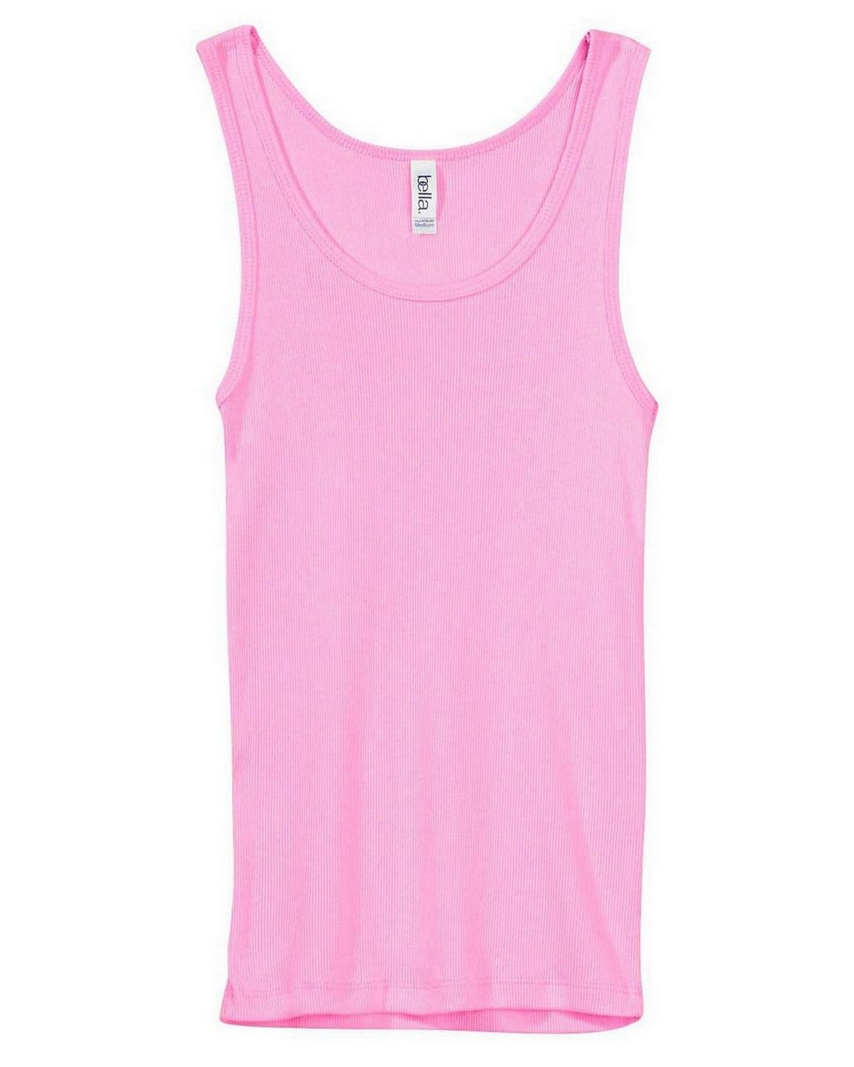 Bella + Canvas 4000 Ladies 2x1 Rib Tank - Pink - L 4000