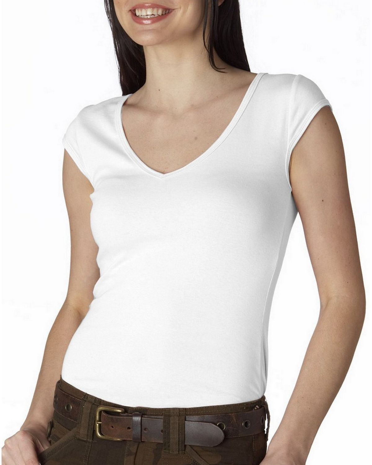 Bella + Canvas 8705 Sheer Rib V-Neck Tee - White - XL 8705